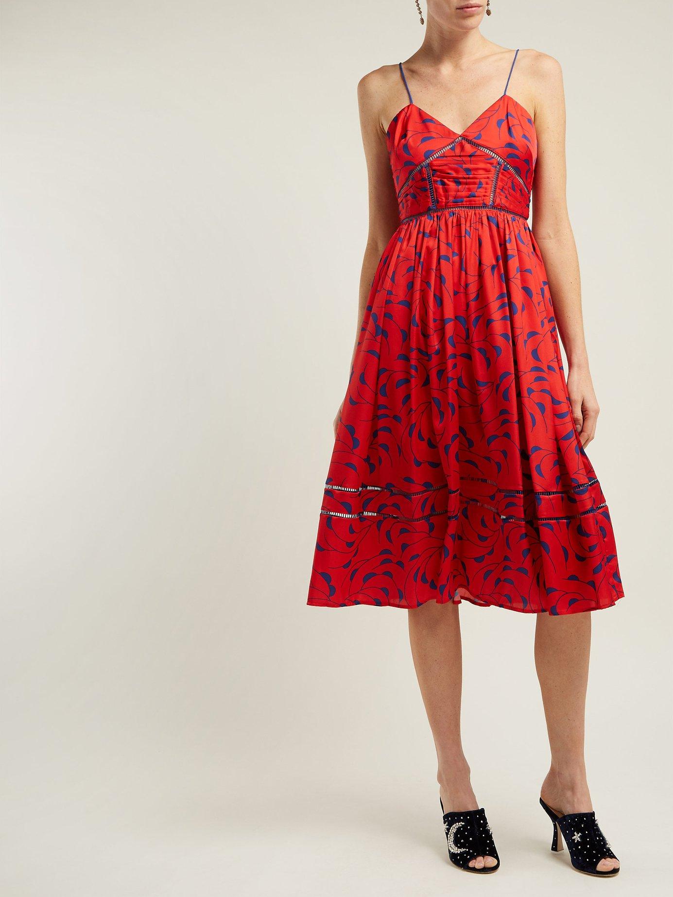 red Azalea Print Satin Dress