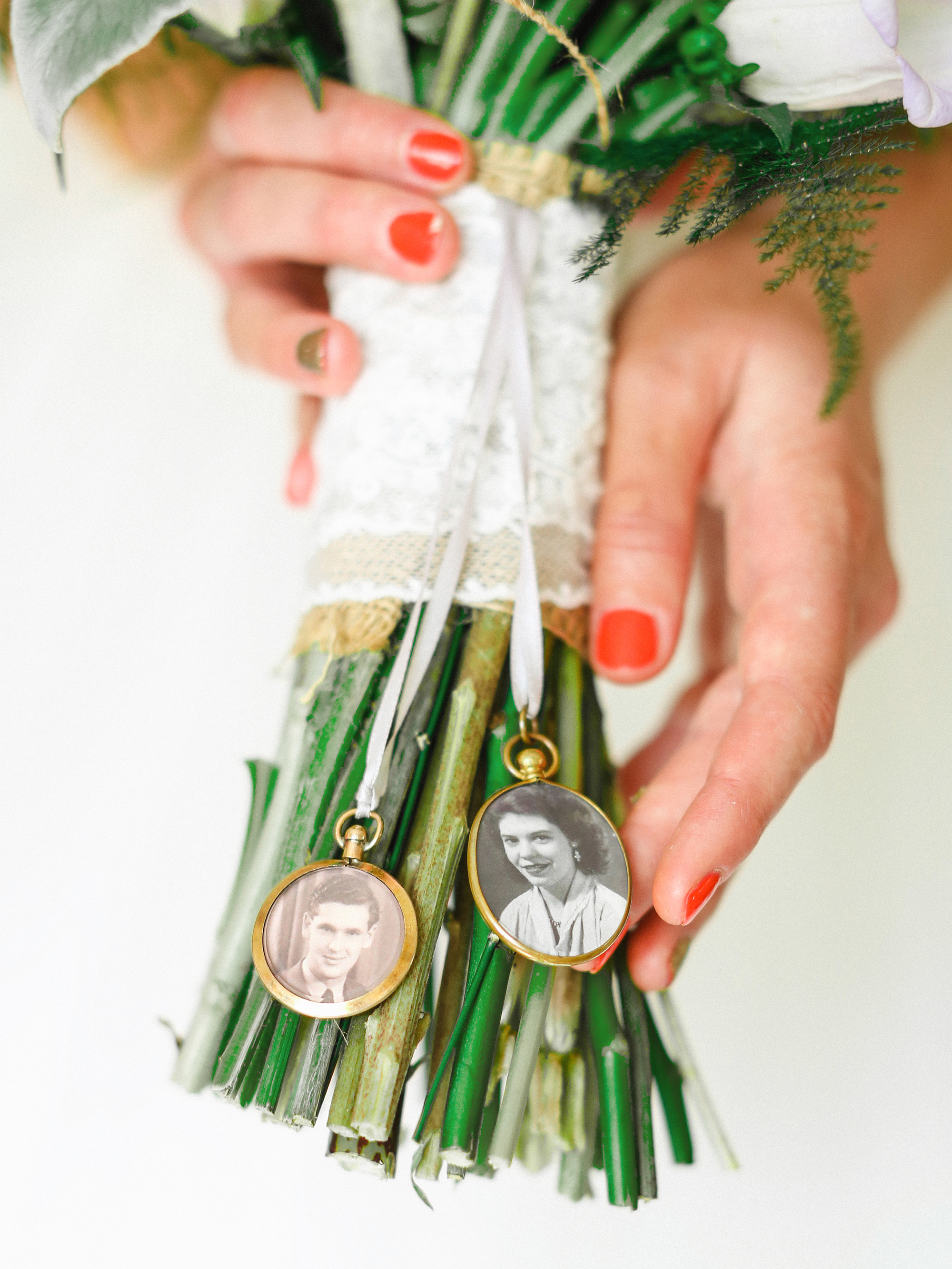 hanging family photo bouquet charms