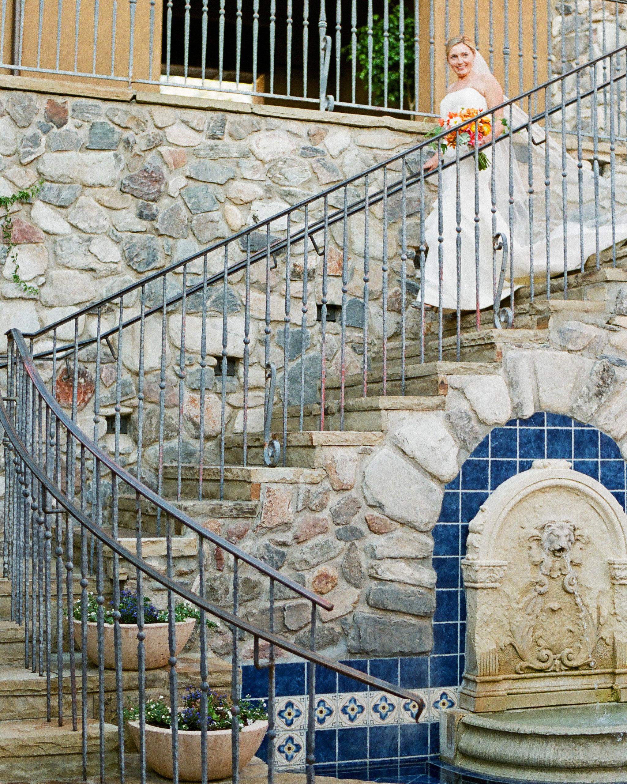 addie alex wedding processional stairs