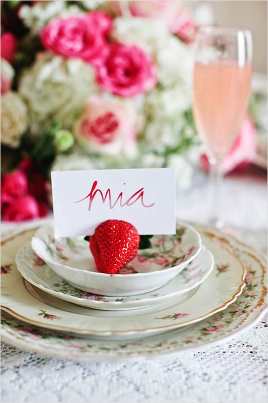 strawberry place card holders