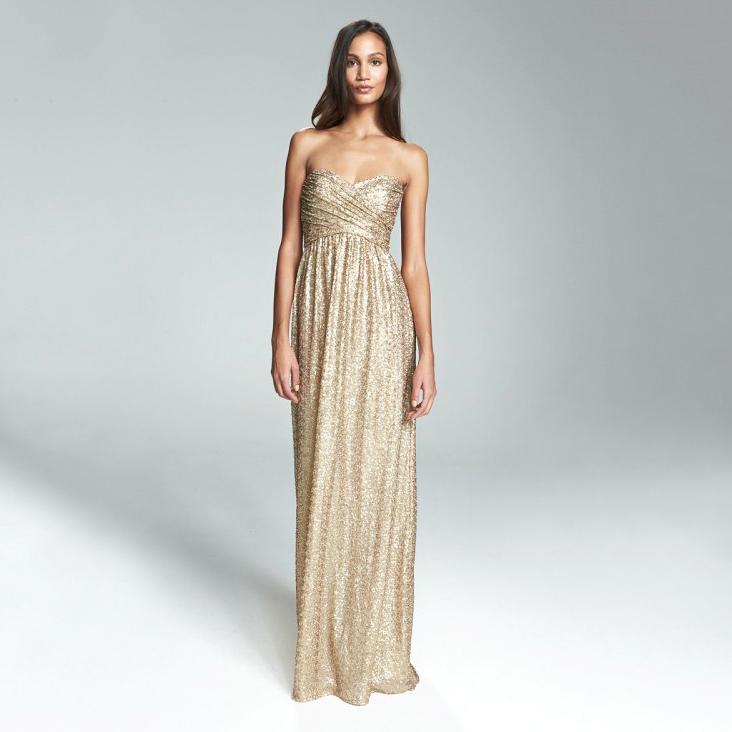 strapless metallic dress