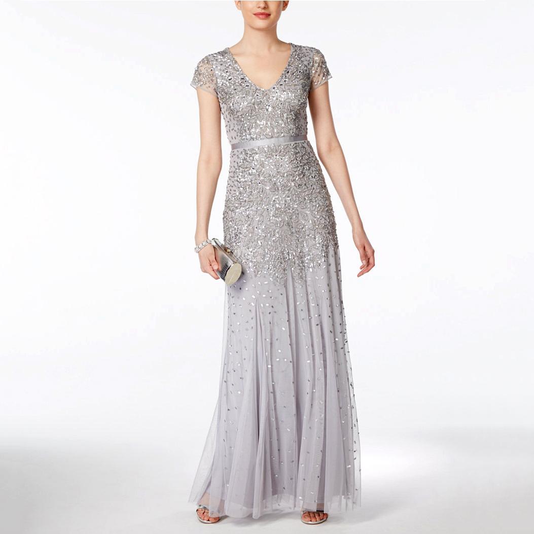 silver cap-sleeve dress