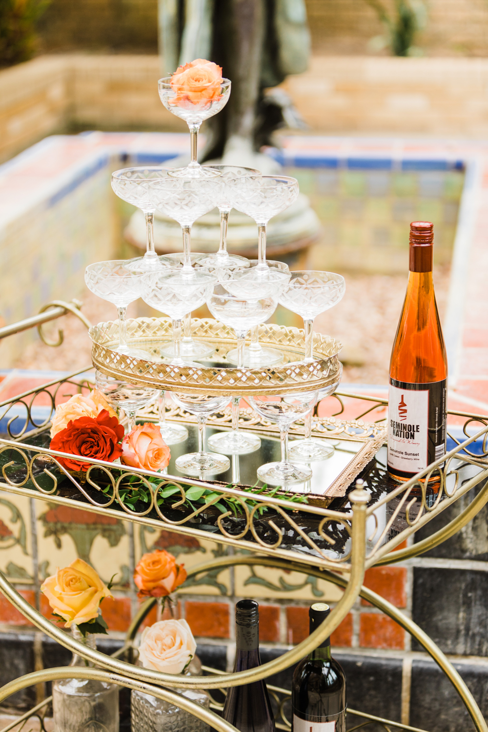wedding champagne towers on bar cart