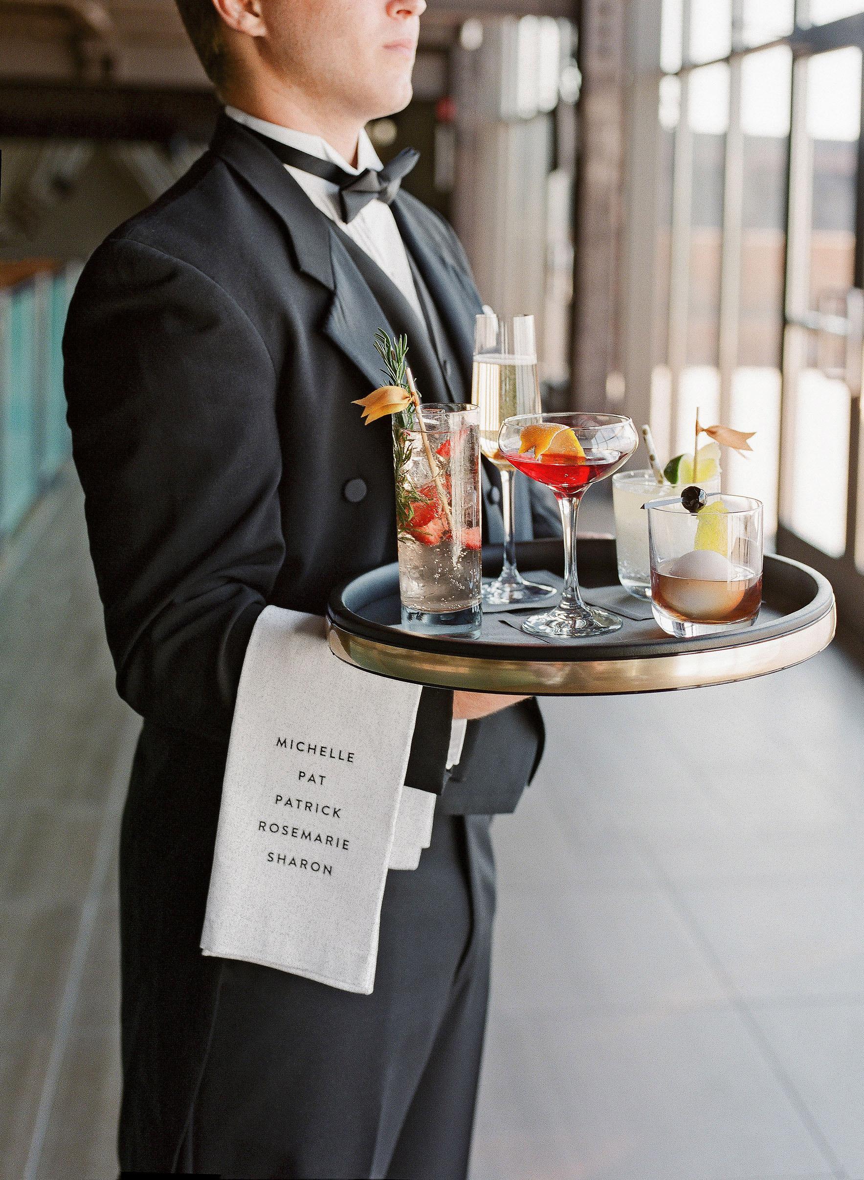 waiter cocktail tray wedding