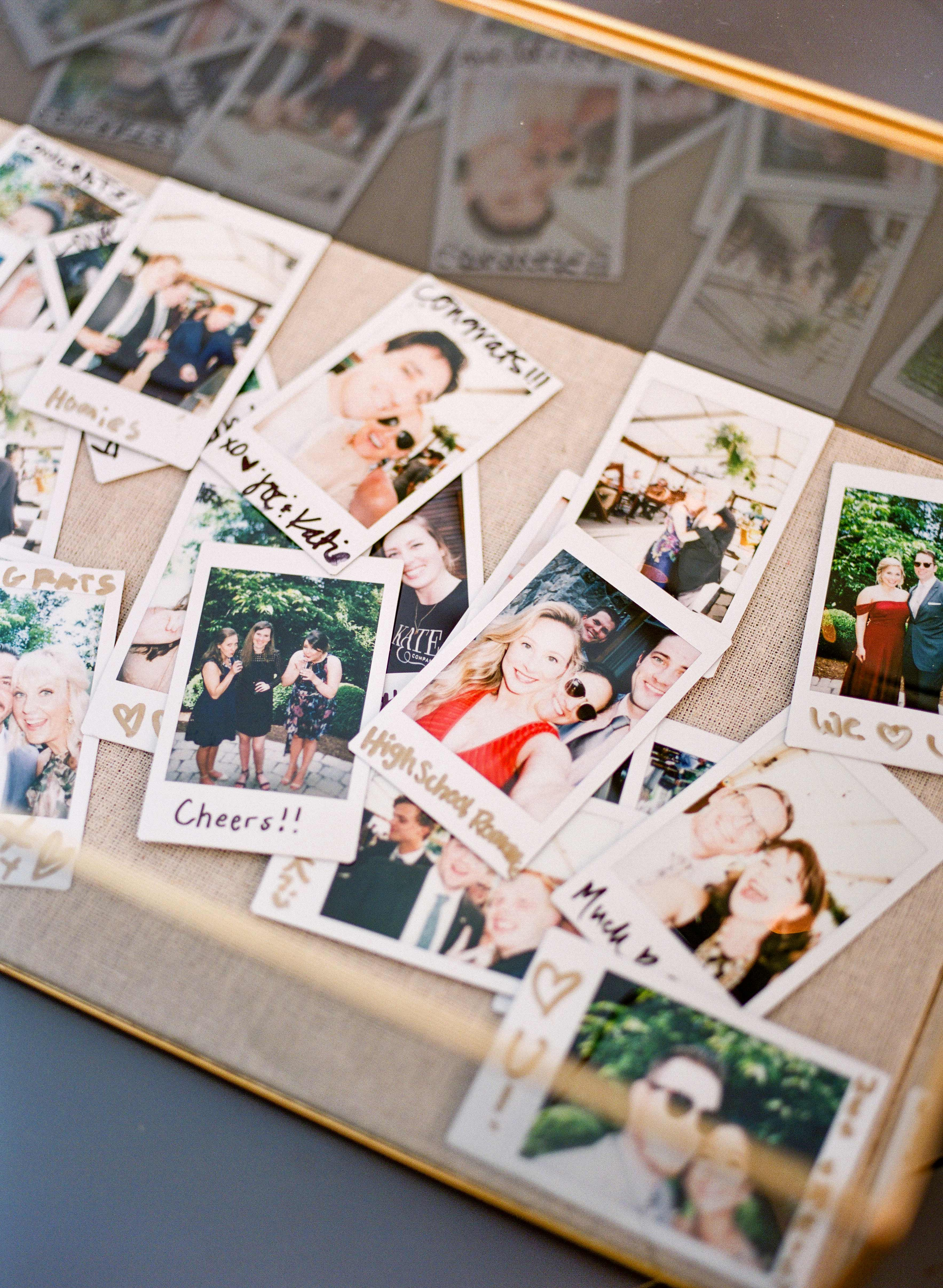 chrissy and jons guests polaroid pictures
