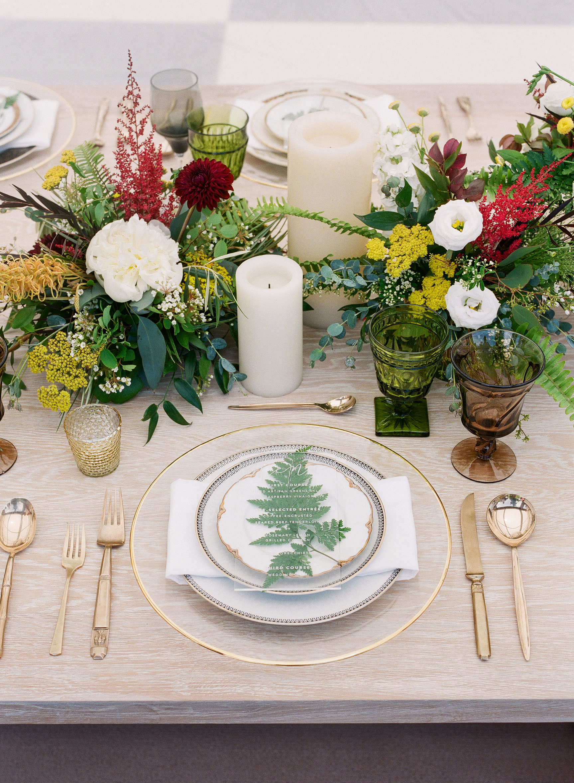 wedding table setting floral fern