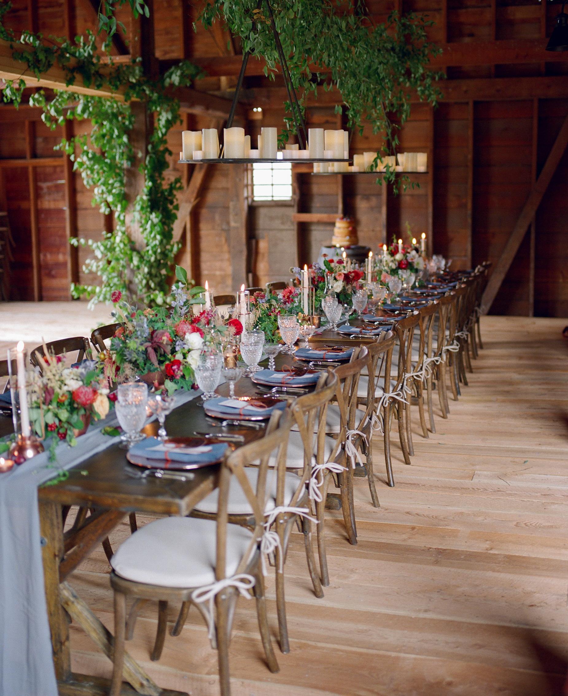 long wedding table greenery flowers