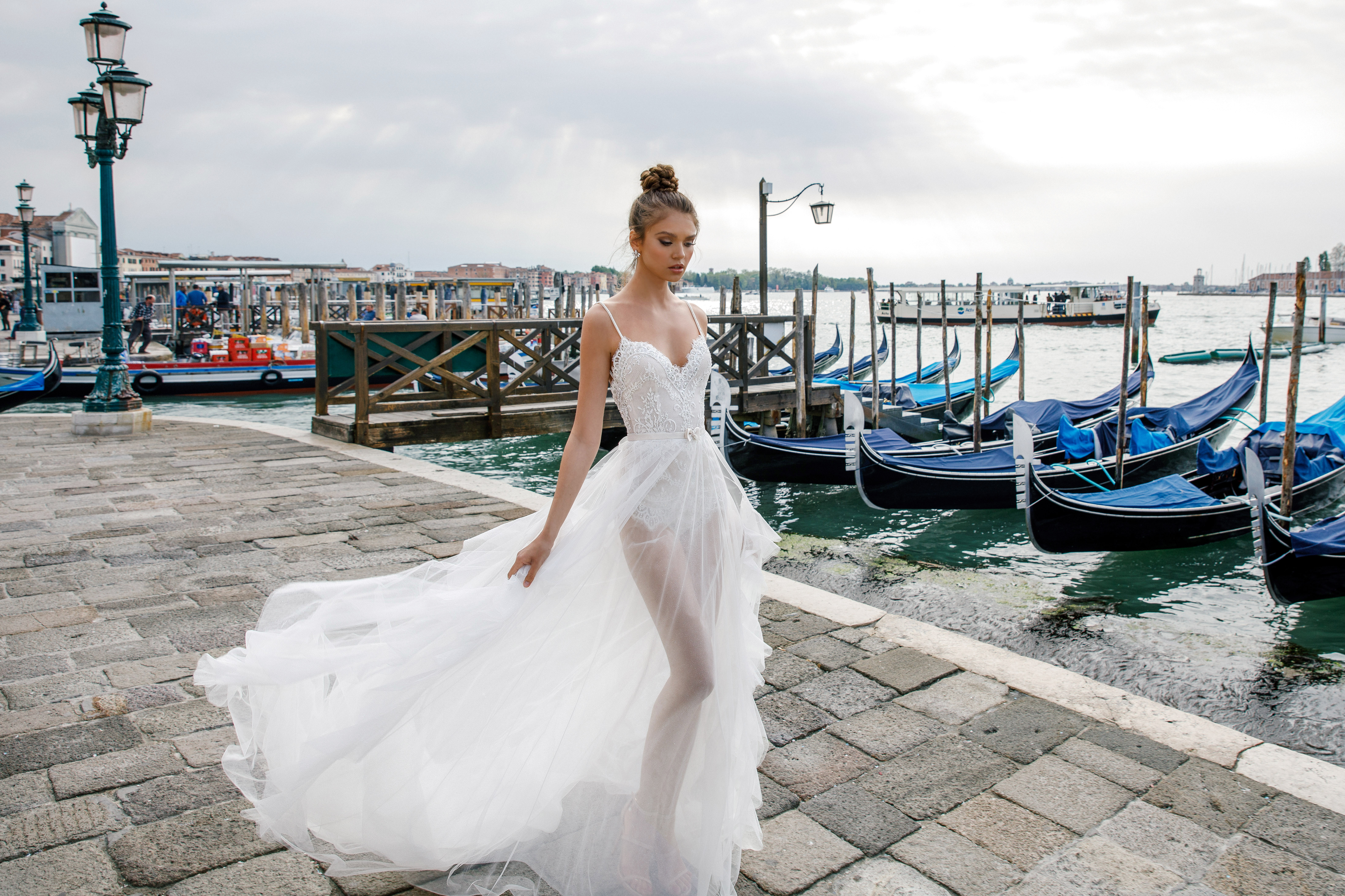 spaghetti strap sheer julie vino wedding dress spring2018