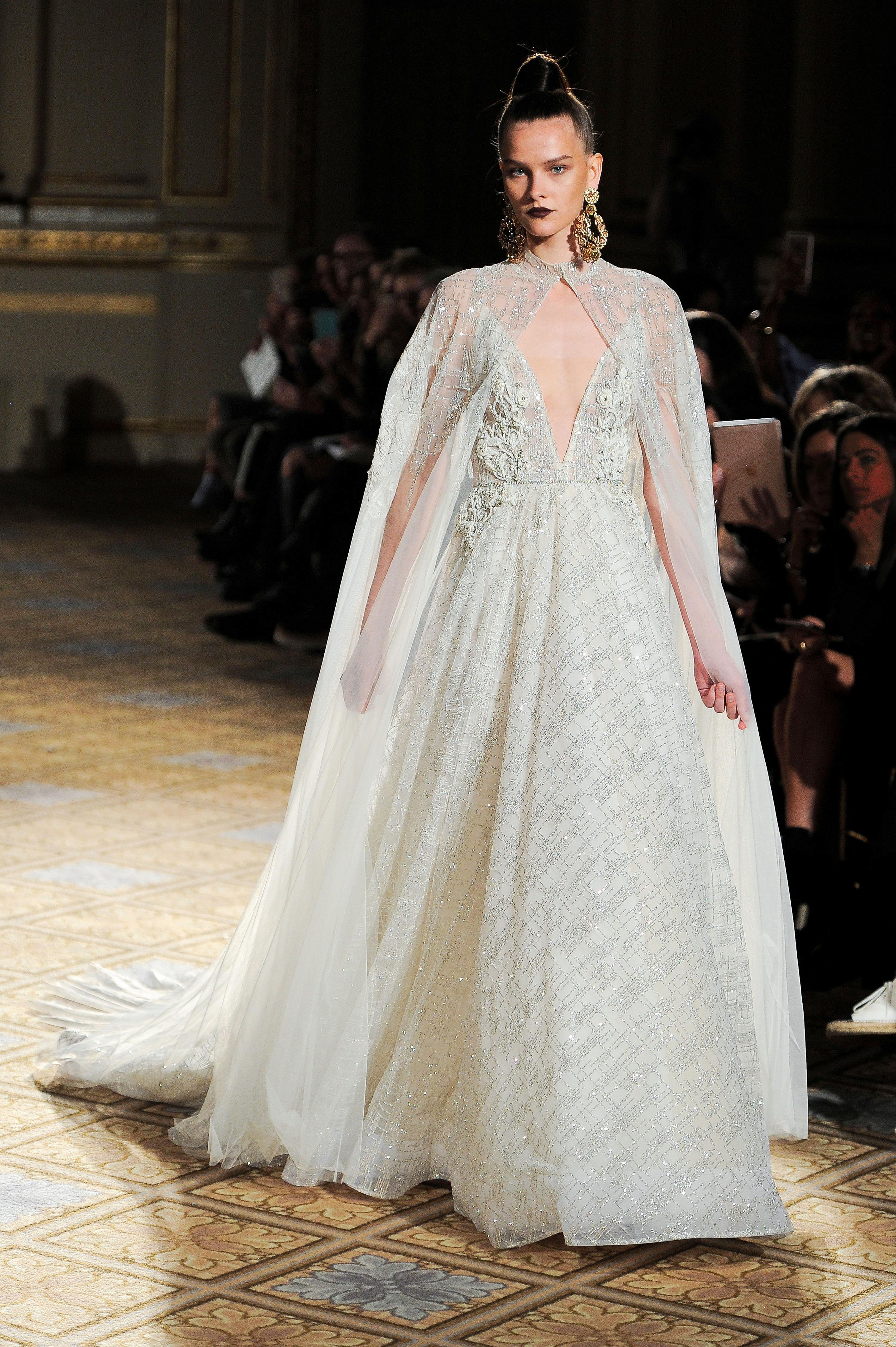 berta sparkly v-neck wedding dress with cape spring 2018