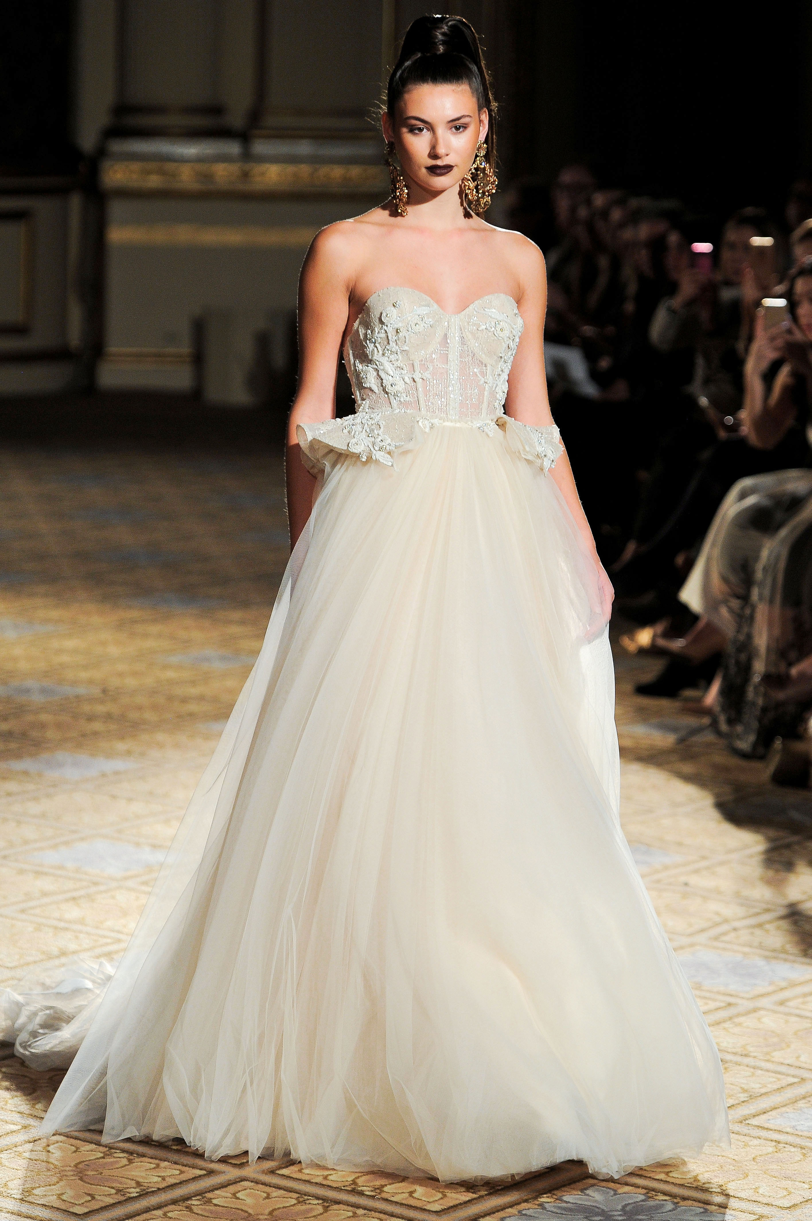 berta tulle peplum sweetheart wedding dress spring 2018