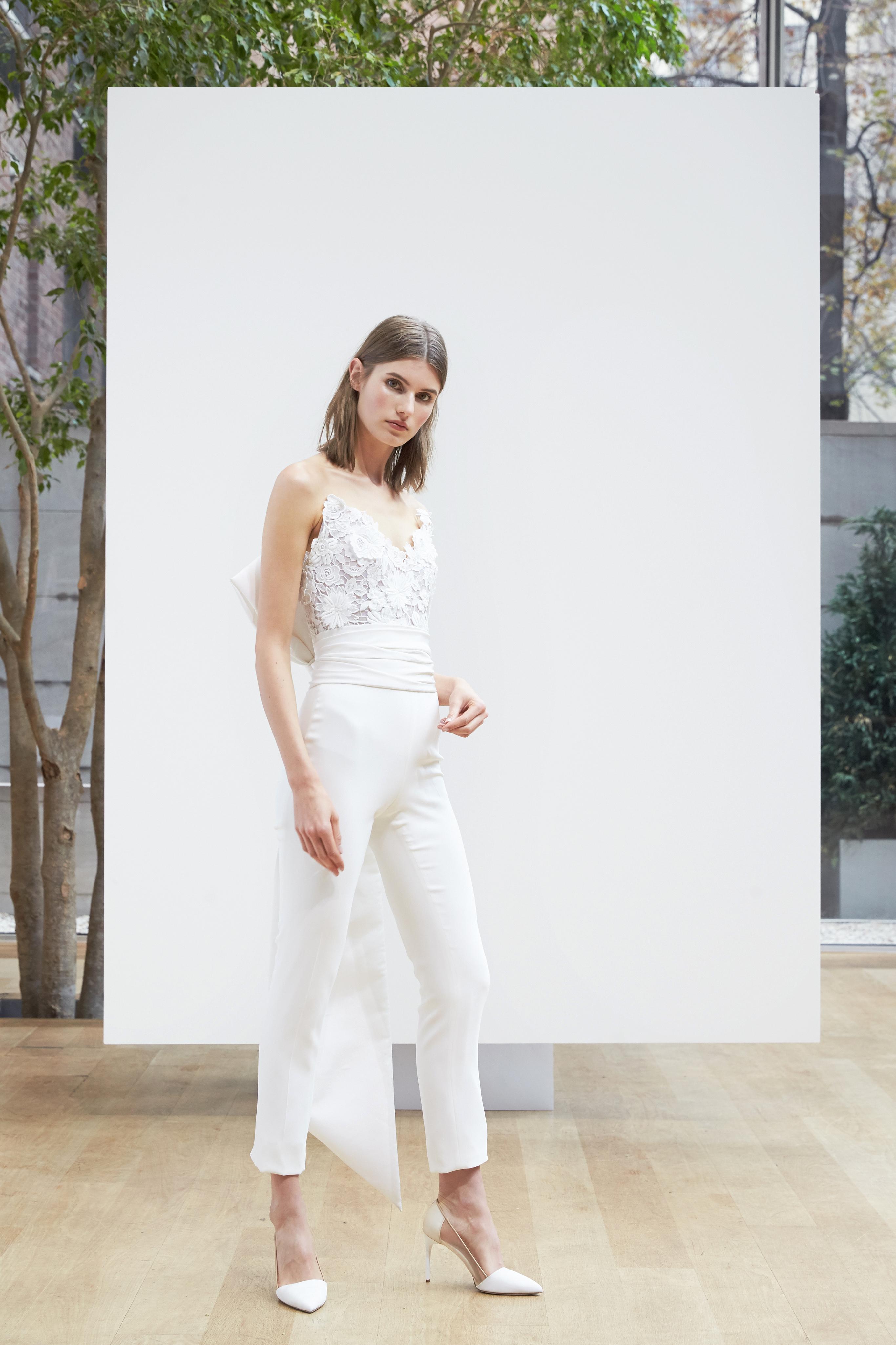 v-neck pant suit Oscar de la Renta Spring 2018 Wedding Dress Collection