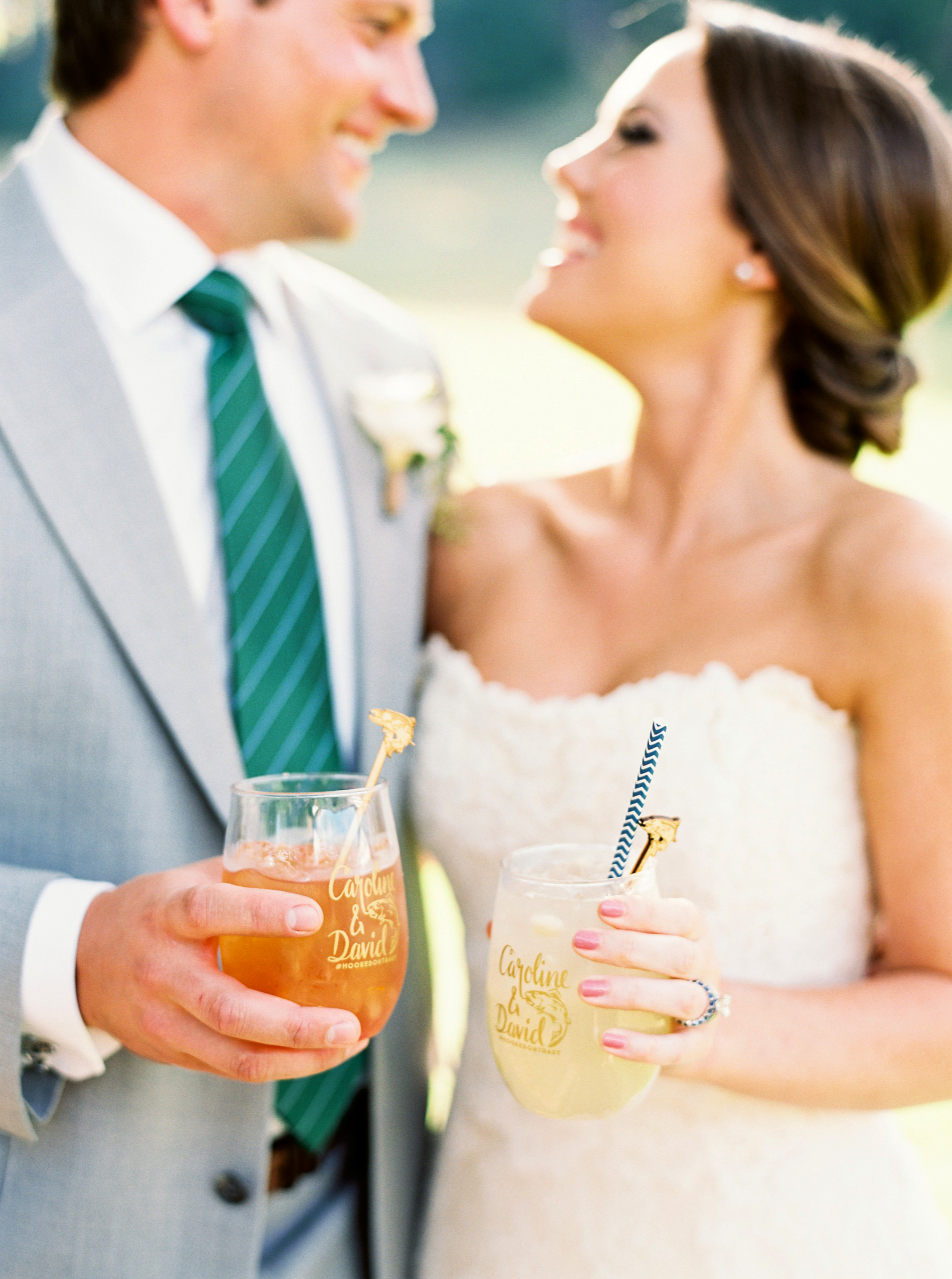 his and hers drinks cocktails perry vaile bride groom wedding smiles
