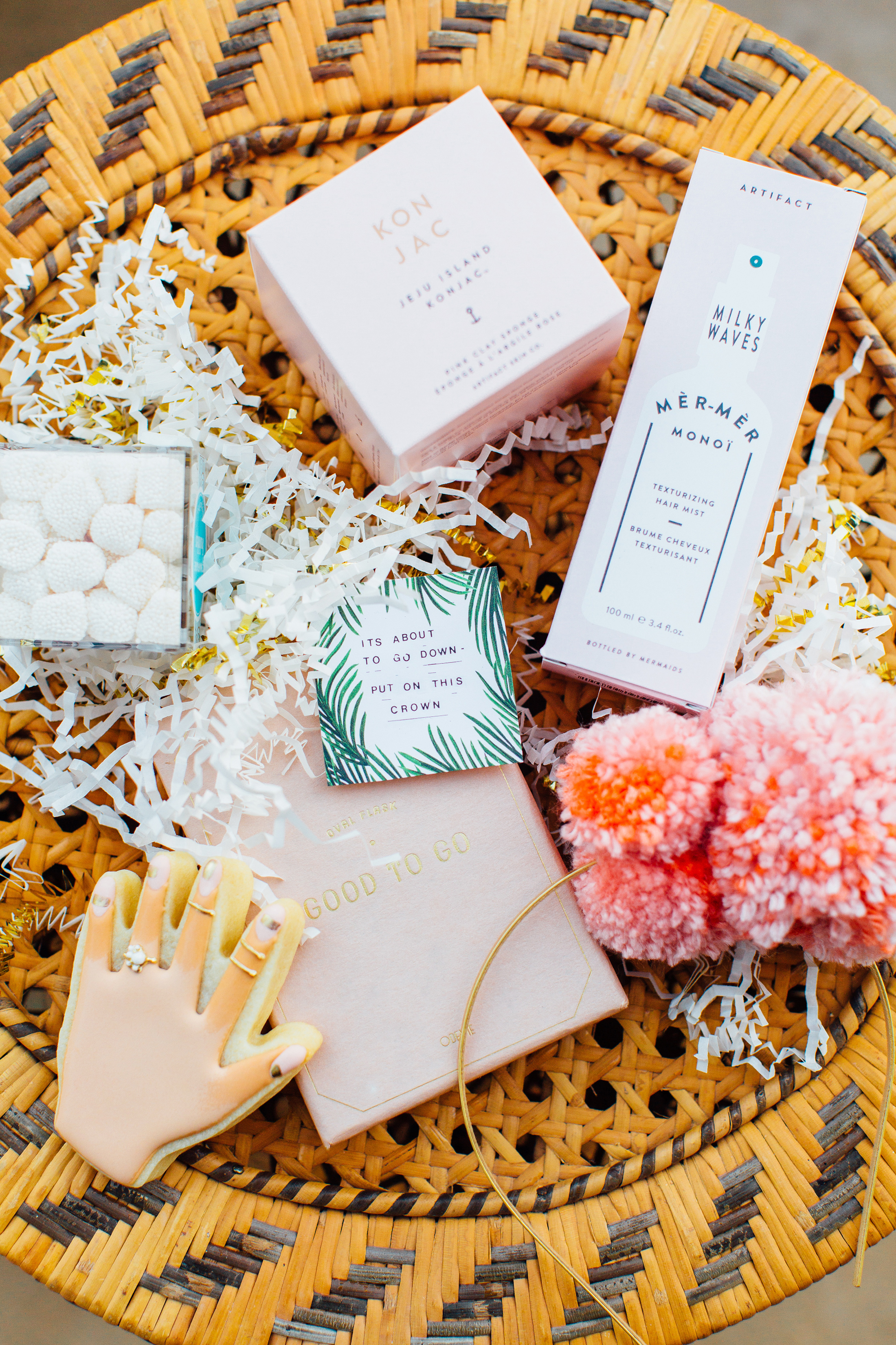 bridal shower gifts on wicker tray