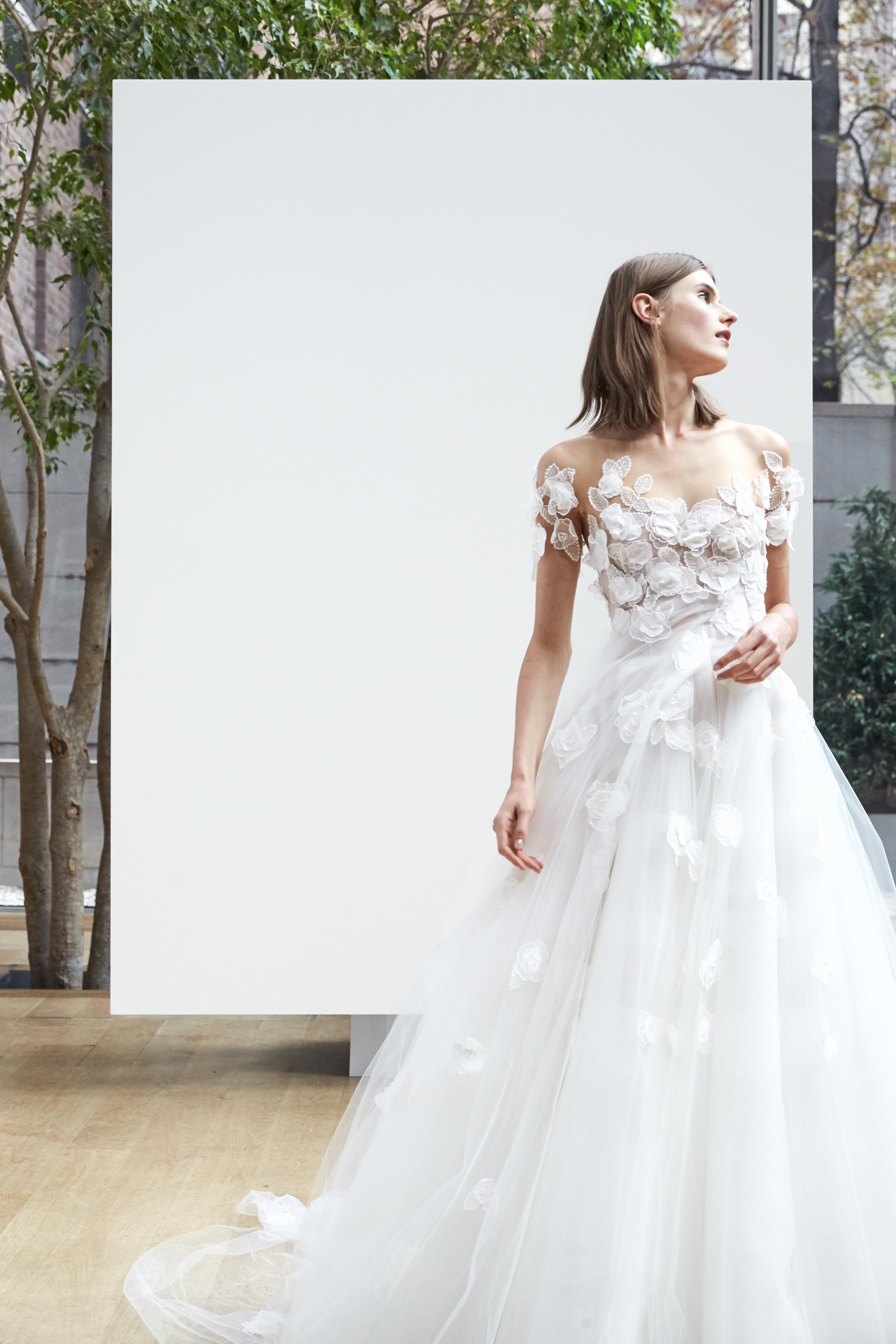 off the shoulder ball gown Oscar de la Renta Spring 2018 Wedding Dress Collection