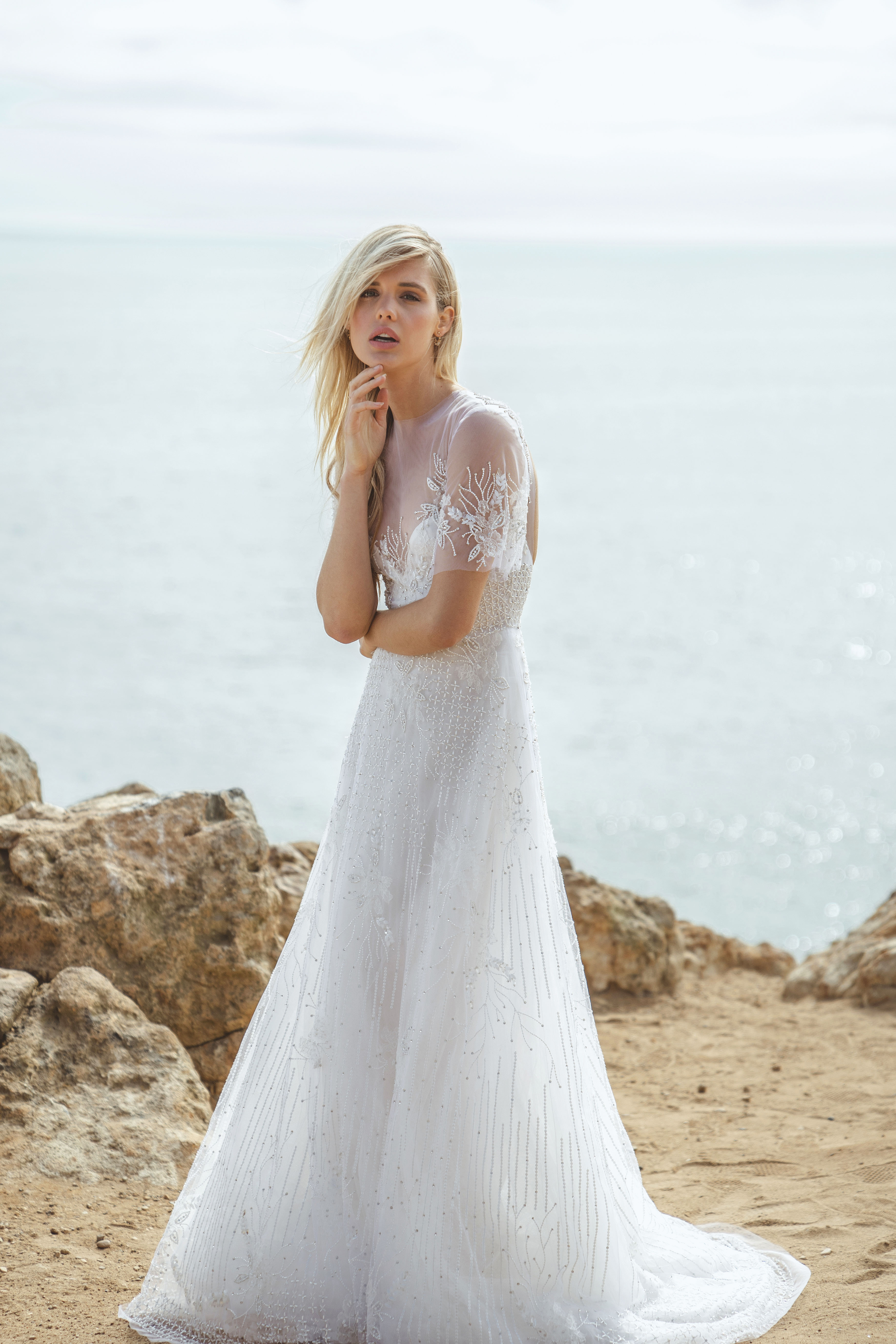 sabrina dahan short sleeves sheer a-line wedding dress spring 2018