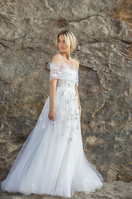 sabrina dahan embellished off the shoulder tulle wedding dress spring 2018