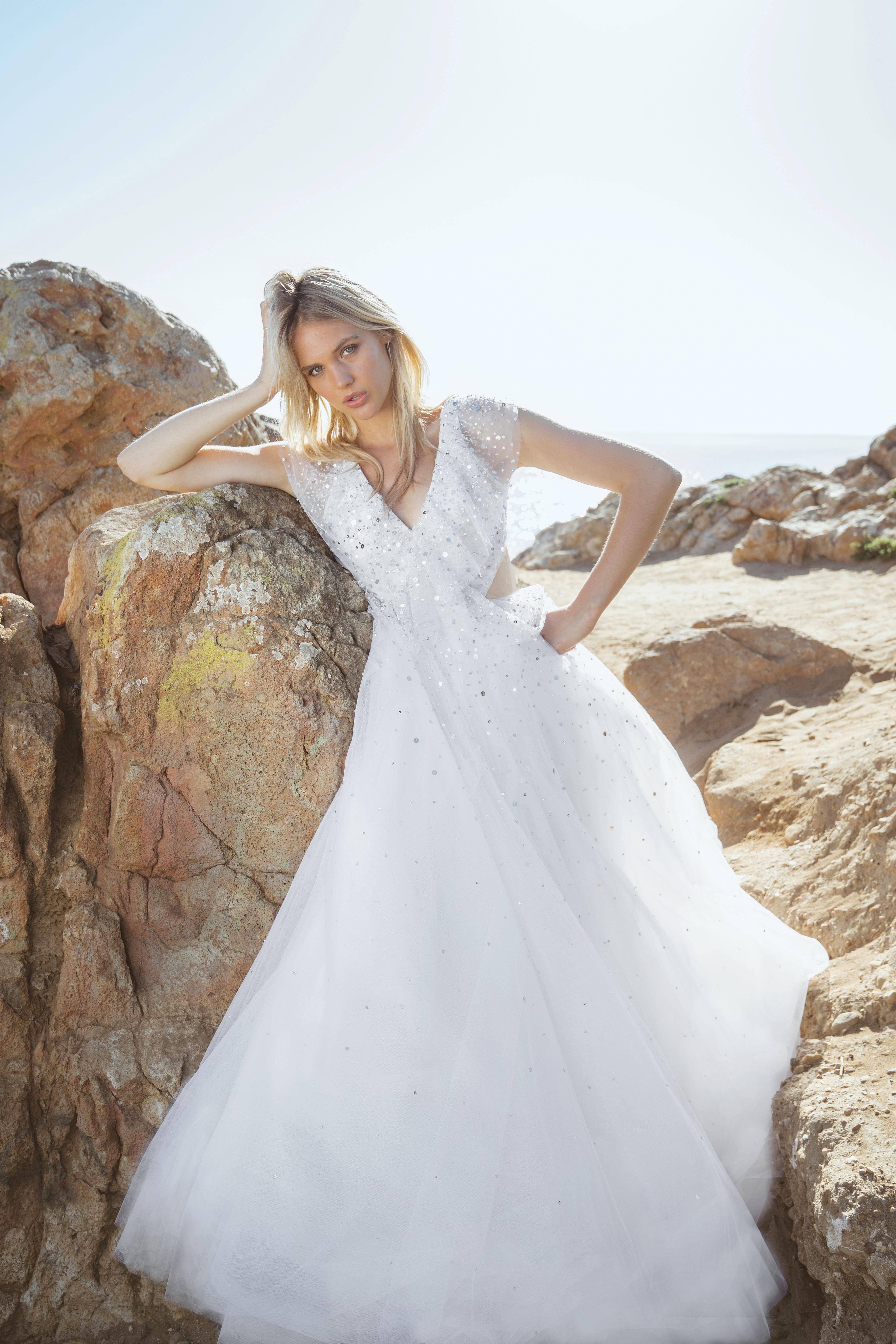 sabrina dahan v-neck short sleeves sparkly wedding dress spring 2018