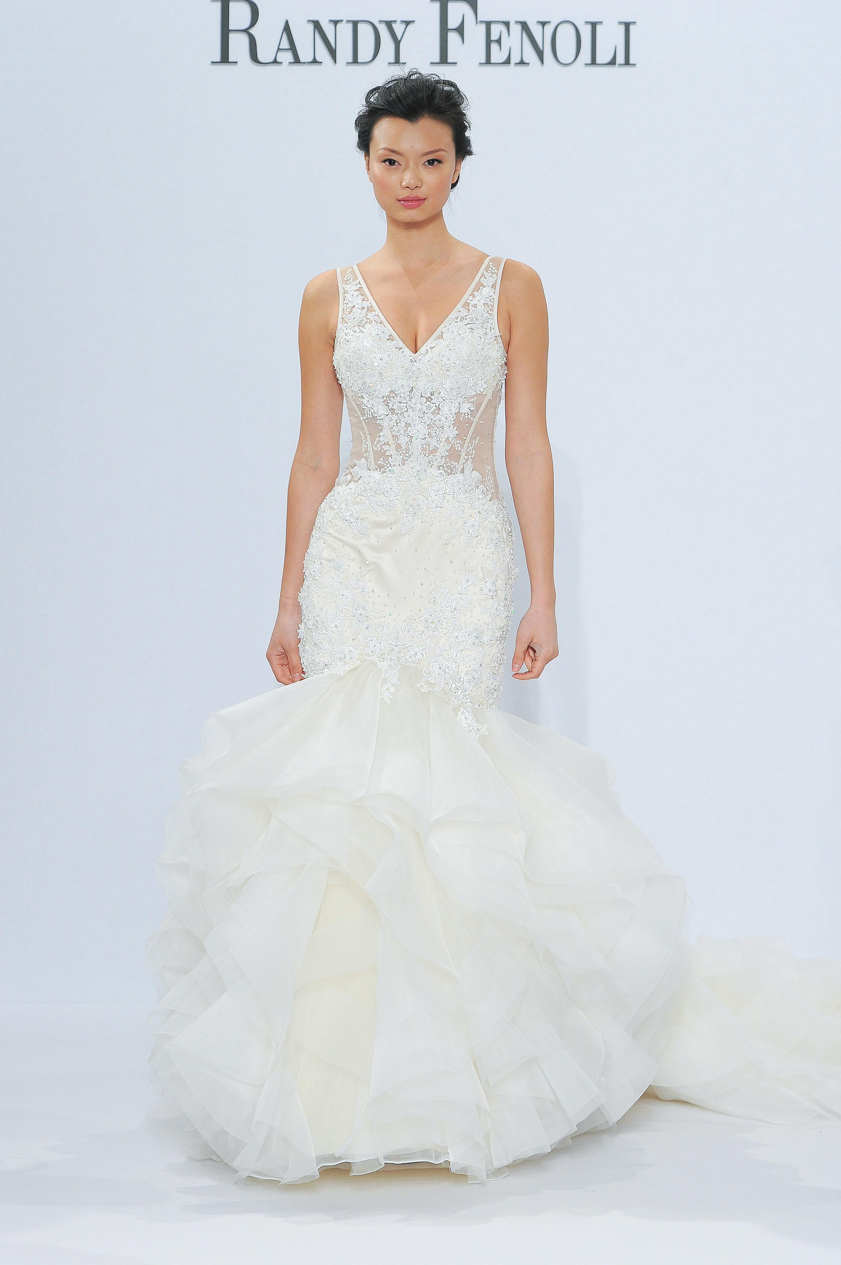 randy fenoli v-neck trumpet wedding dress spring 2018