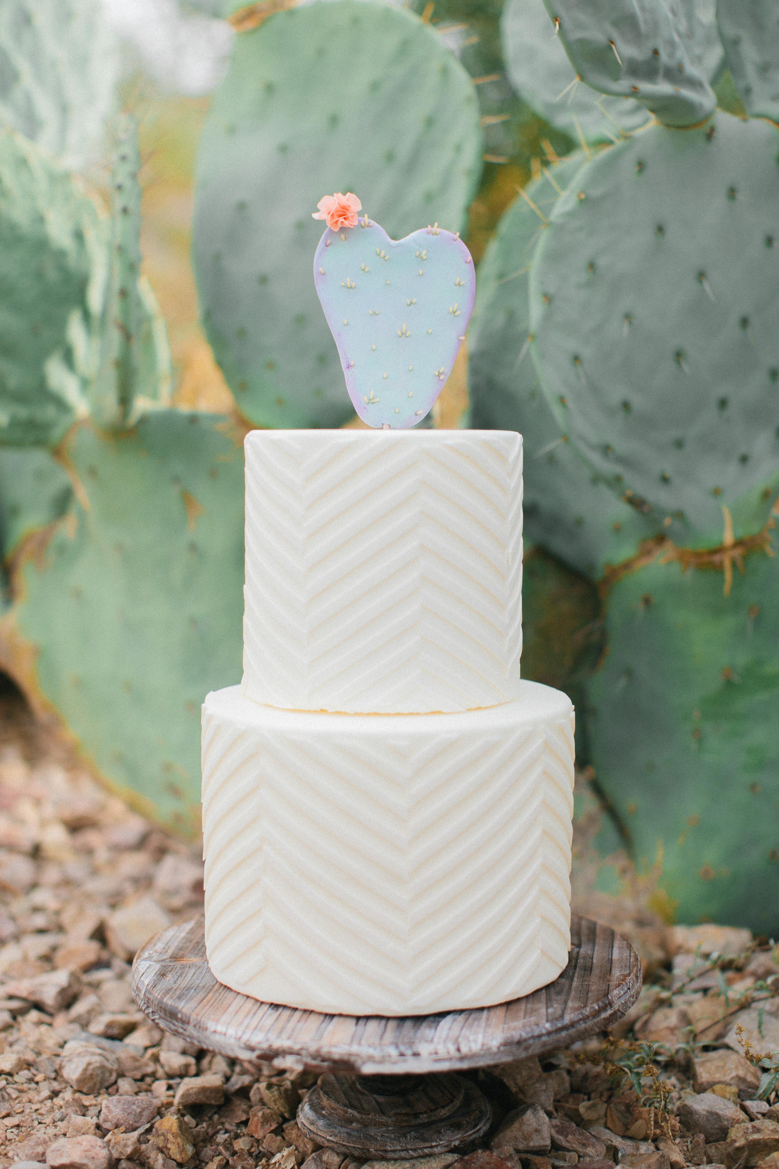 Cactus Wedding Cake Topper on White Cake