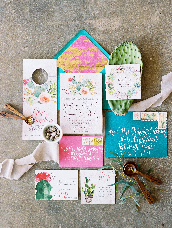 Cactus Wedding Invitation Suite