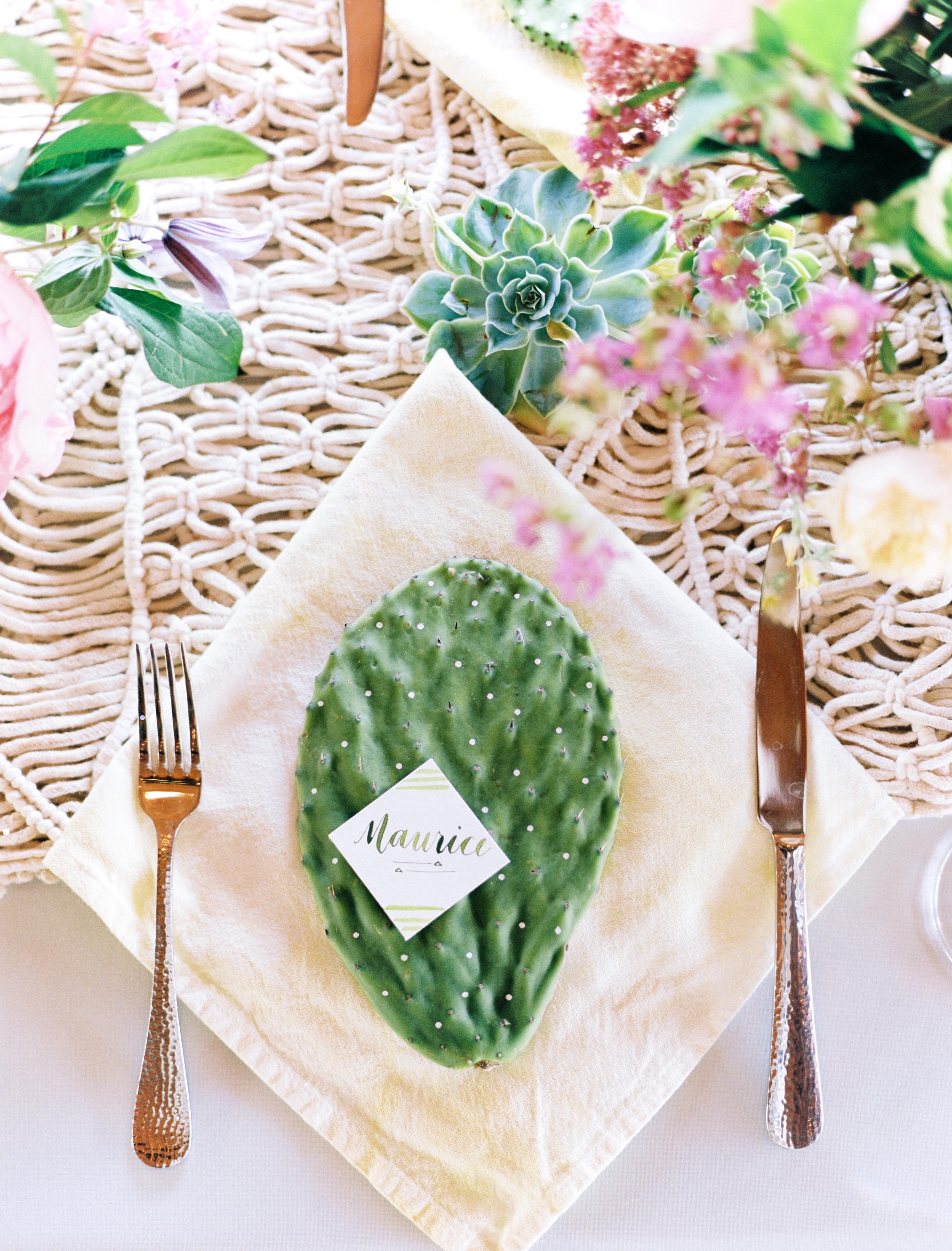 Cactus Place Card on Linen Napkin