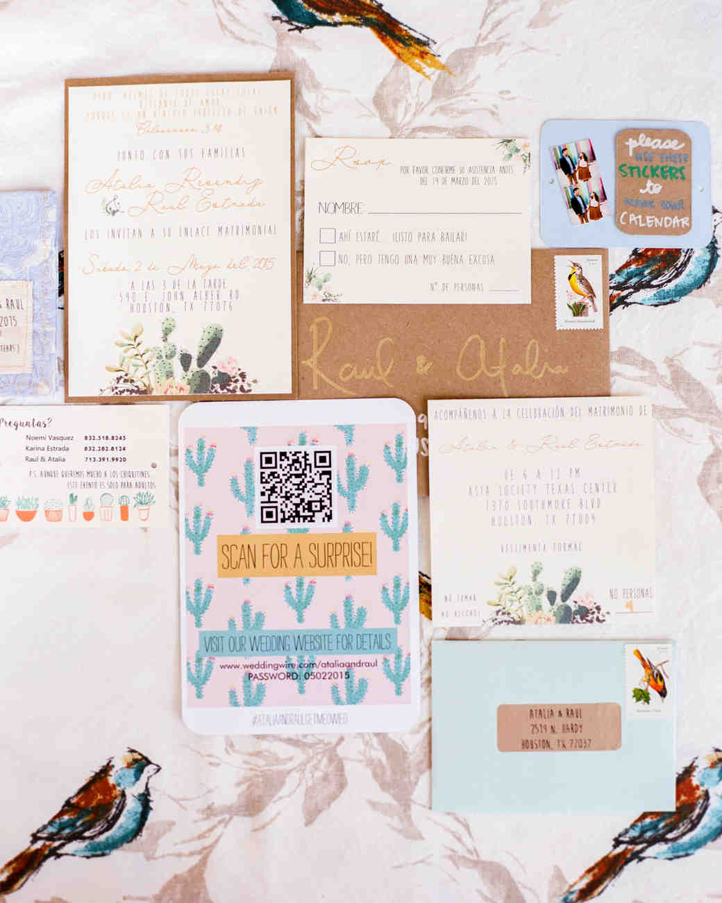 Colorful Wedding Invitation Suite with Cactus Motif