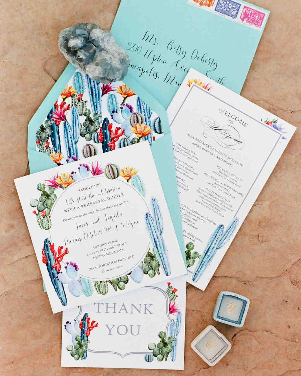 Blue Cactus Wedding Invitation Suite