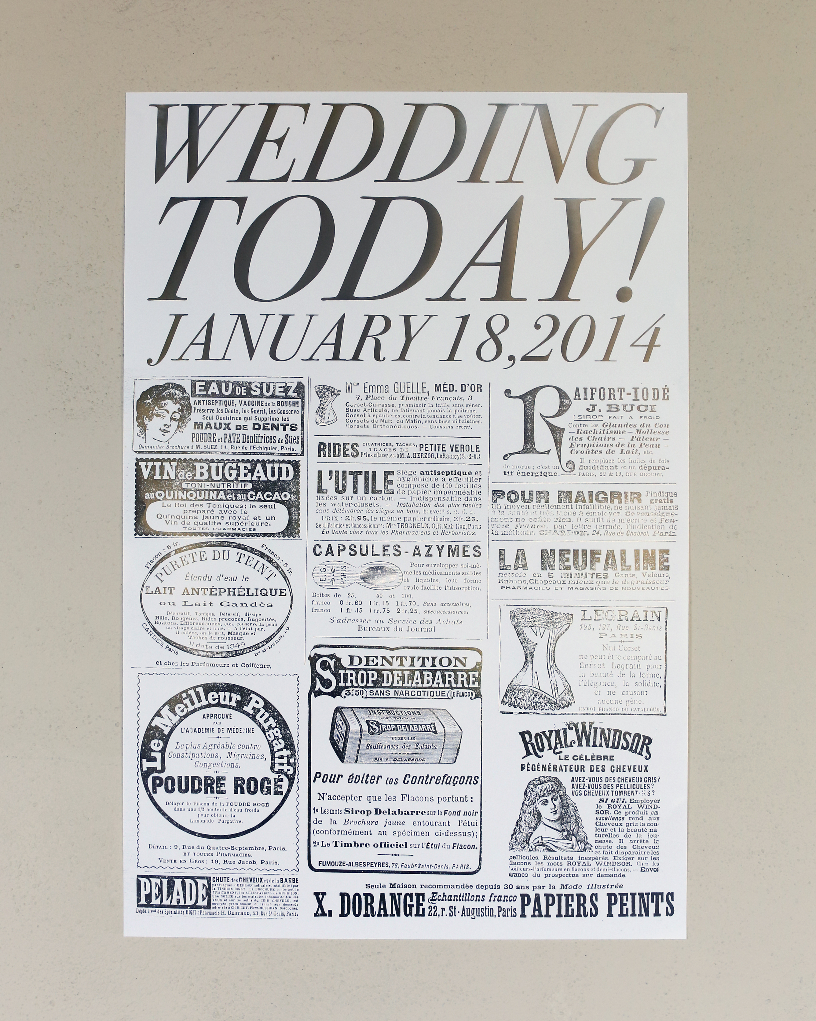 Newspaper-Inspired Save-the-Date Poster