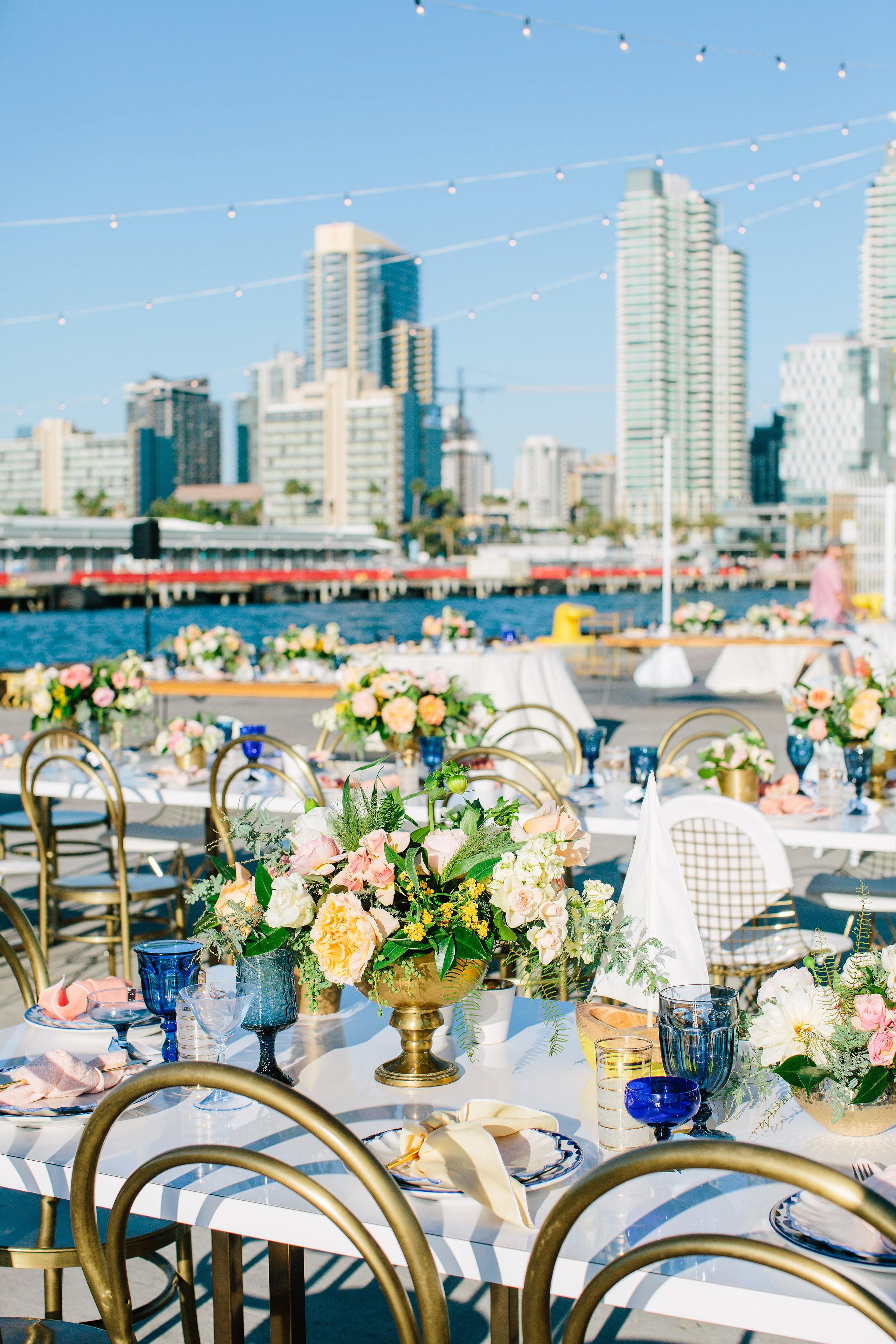julie anthony real wedding centerpiece flowers city skyline
