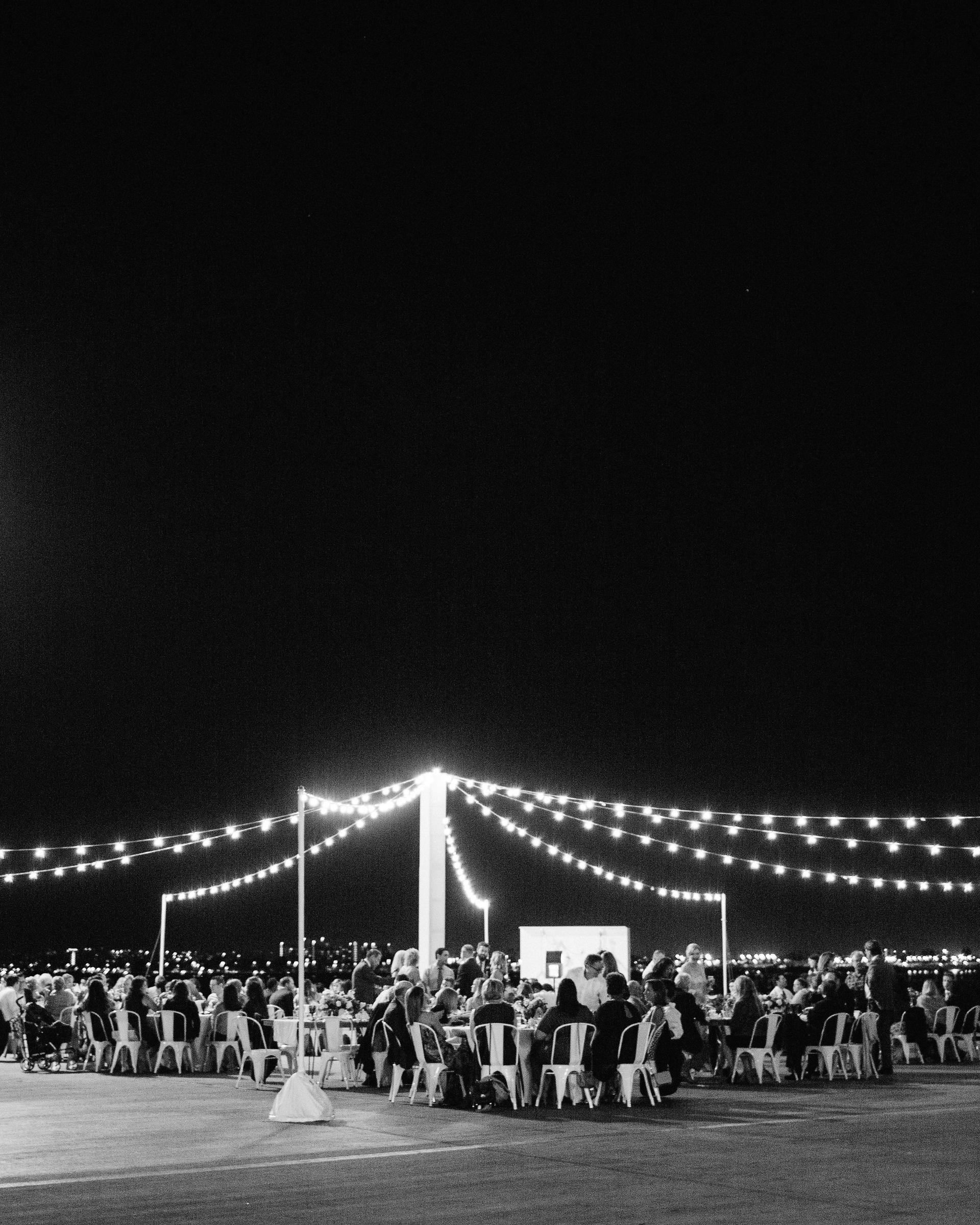 julie anthony real wedding reception black white