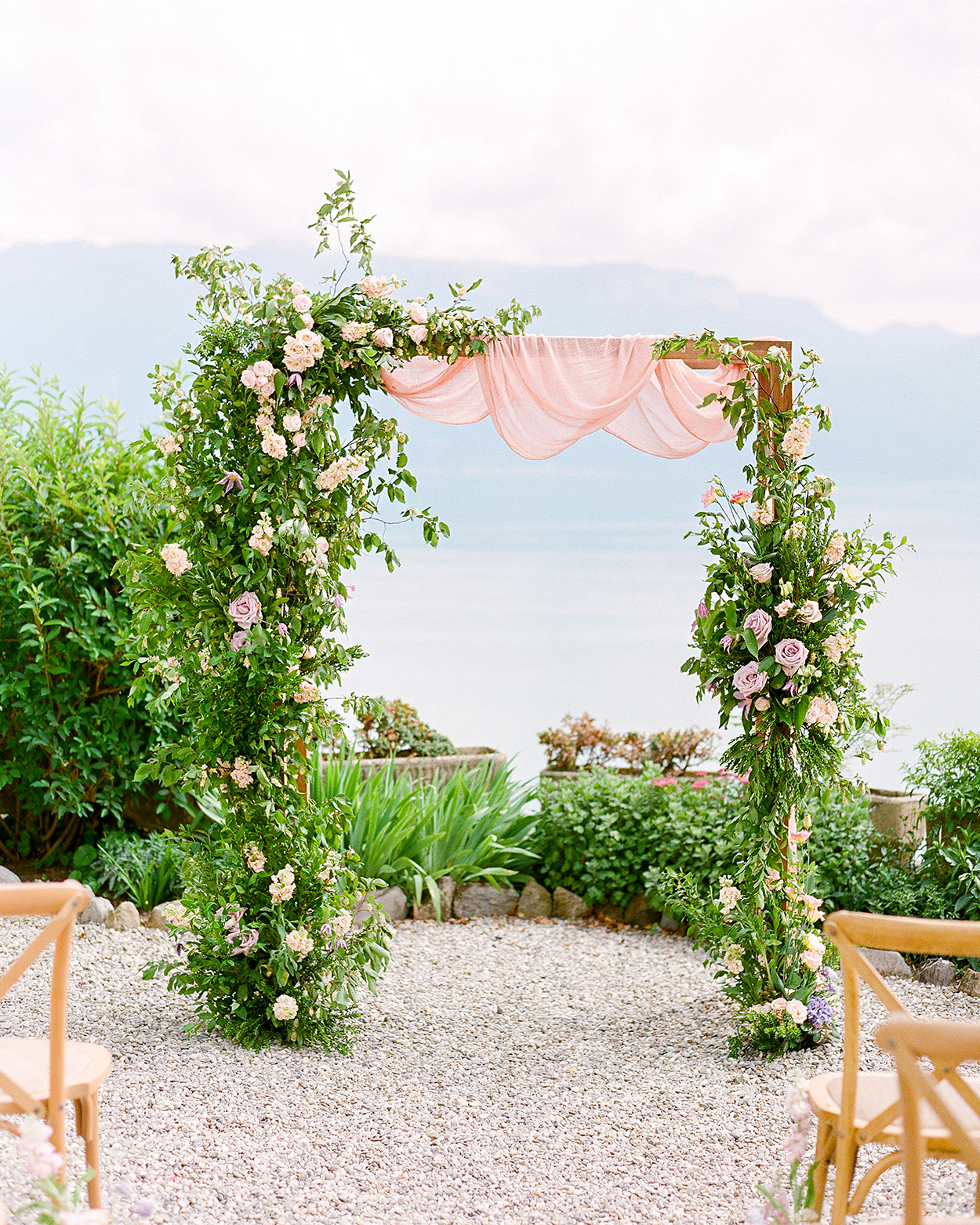 bright pink tulle wrapped around ceremony structure