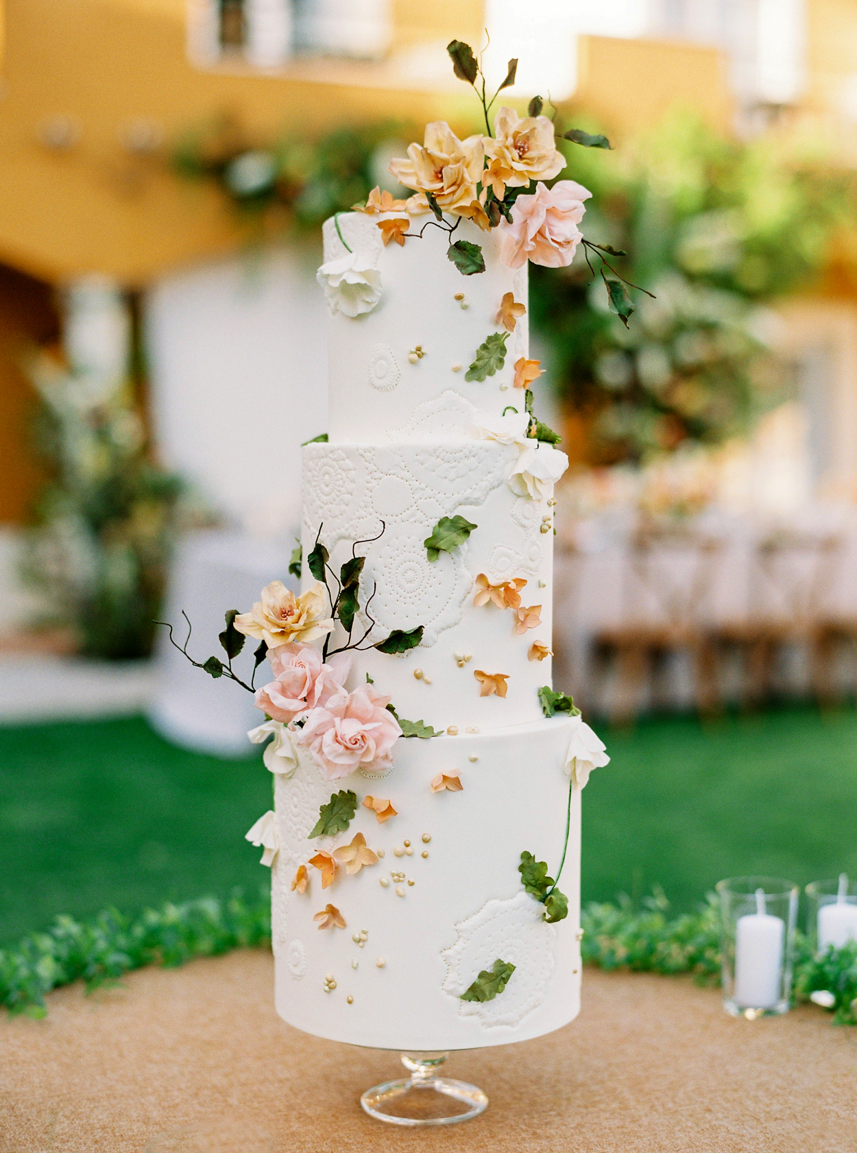 Green, Gold, and Pink wedding color scheme