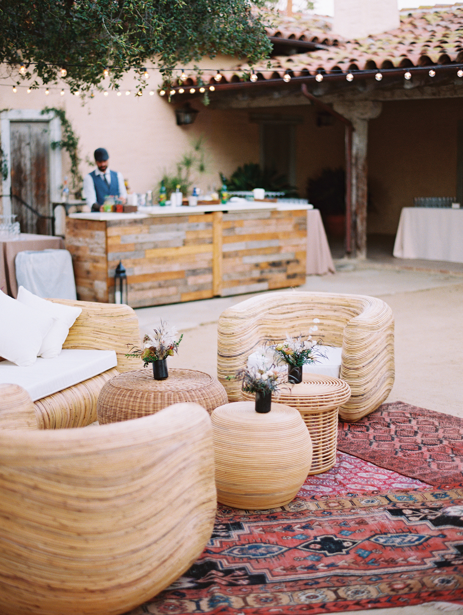 wedding lounge bohemian with rattan decor