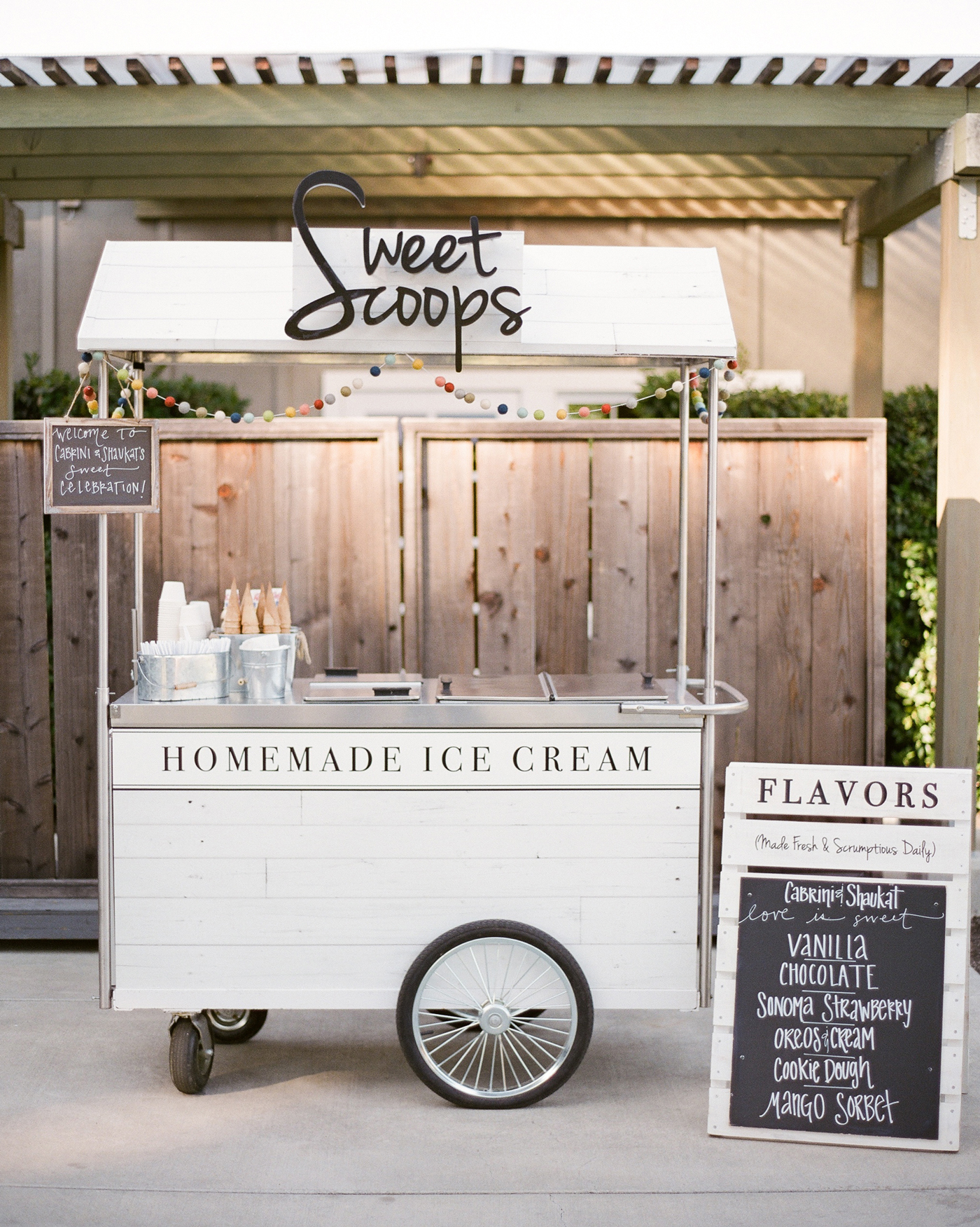 sweet scoops homemade ice cream cart