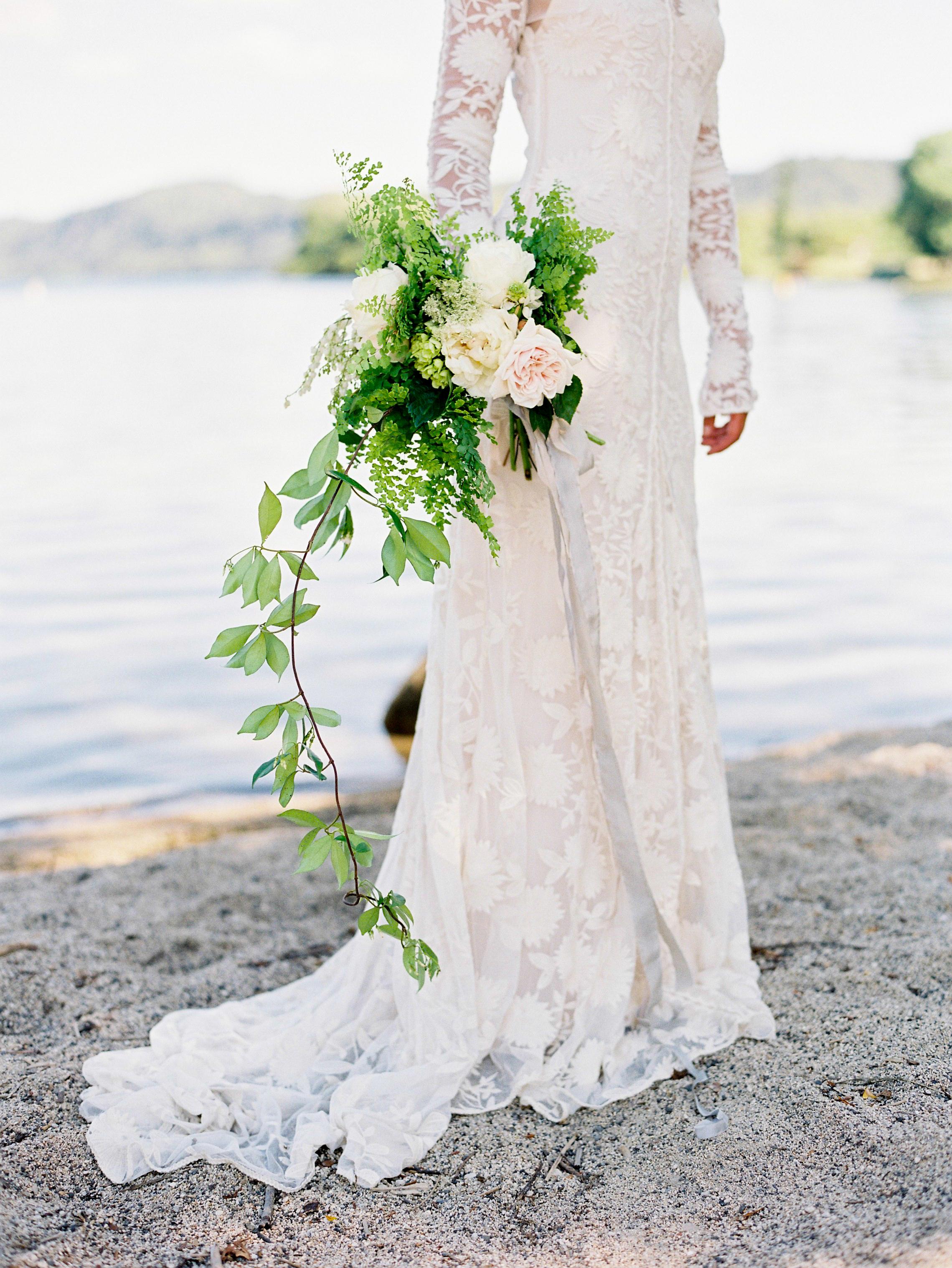 Trailing Fern Wedding Bouquet with Garden Roses