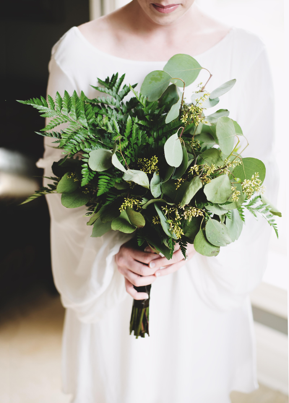 Fern Wedding Bouquets, All Ferns and Eucalyptus