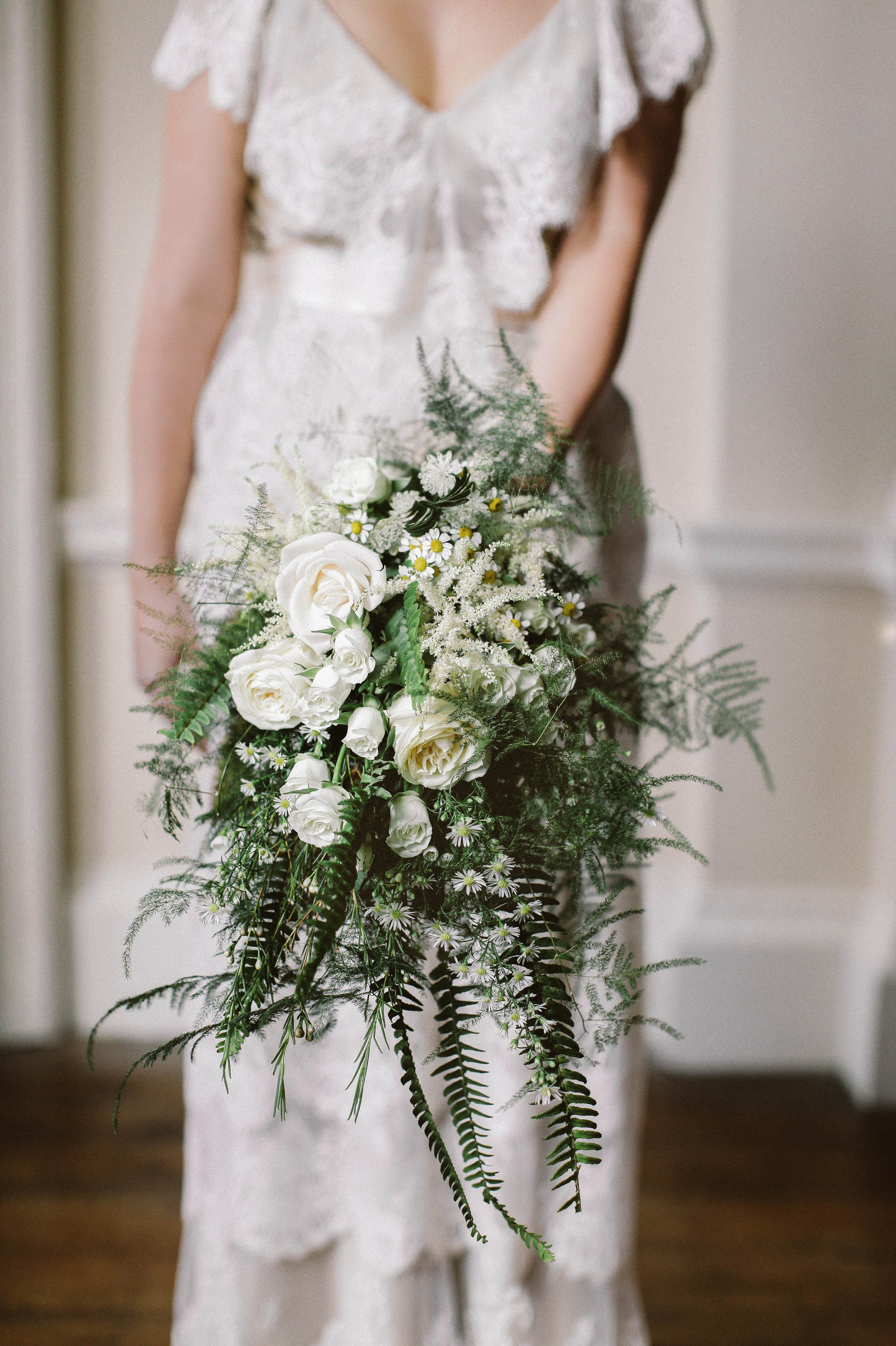 Trailing Fern Wedding Bouquet with Roses and Dasies