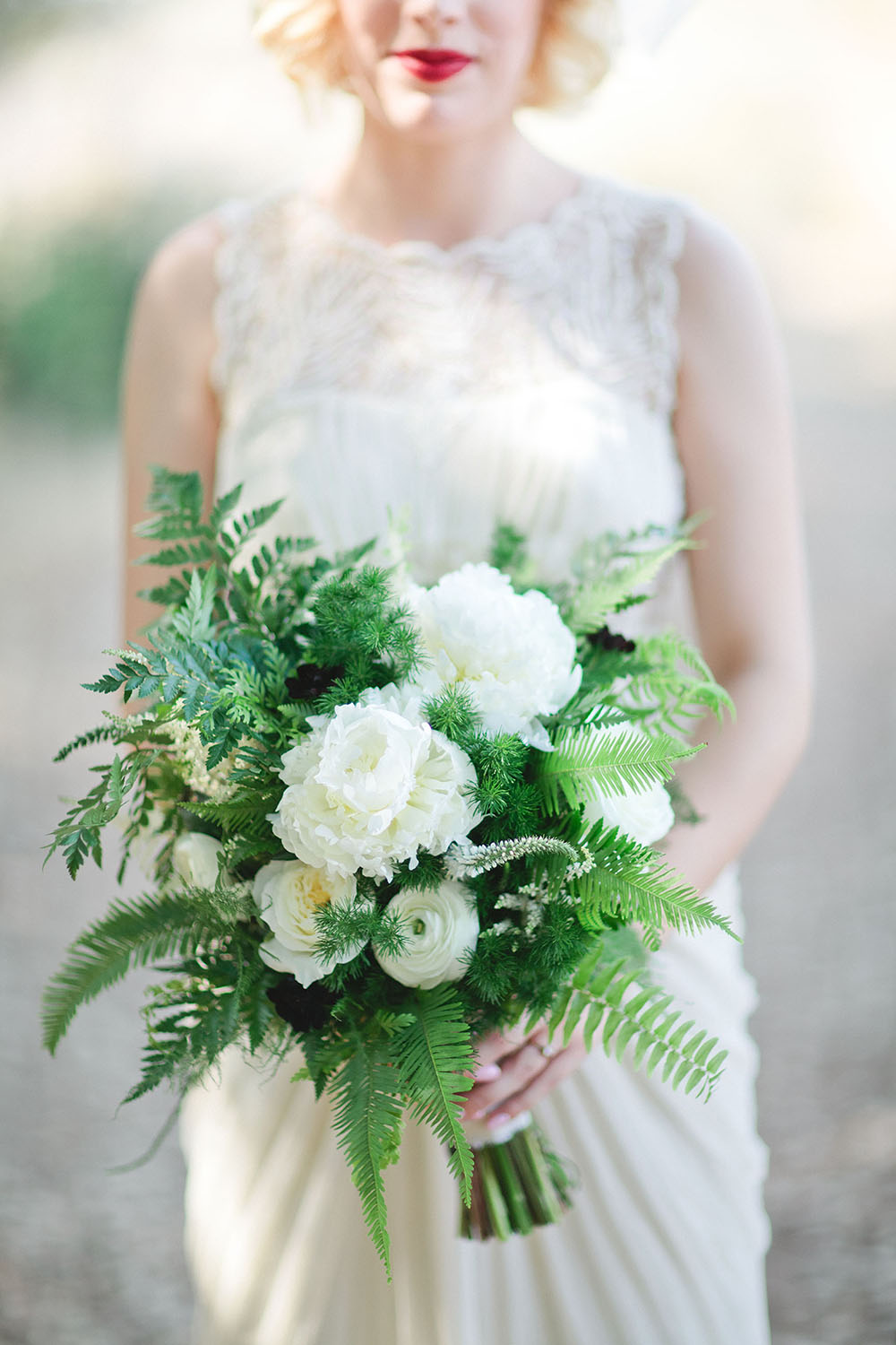 Fern Wedding Bouquet with Peonies and Ranunculus