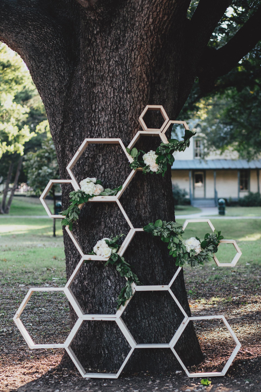 Honeycomb Wedding Inspiration, Ceremony Backdrop with Flowers