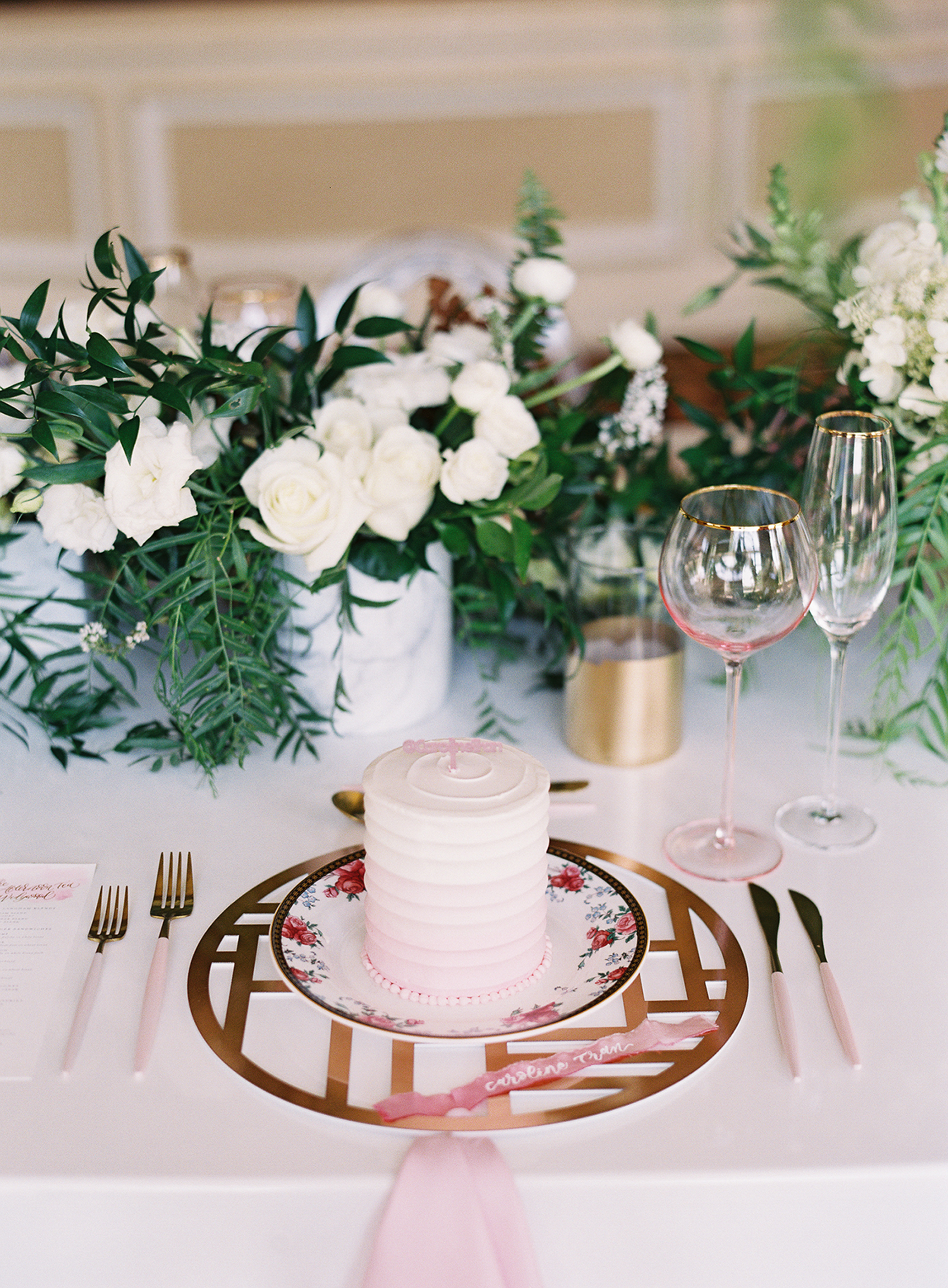 bridal shower centerpiece with garden roses