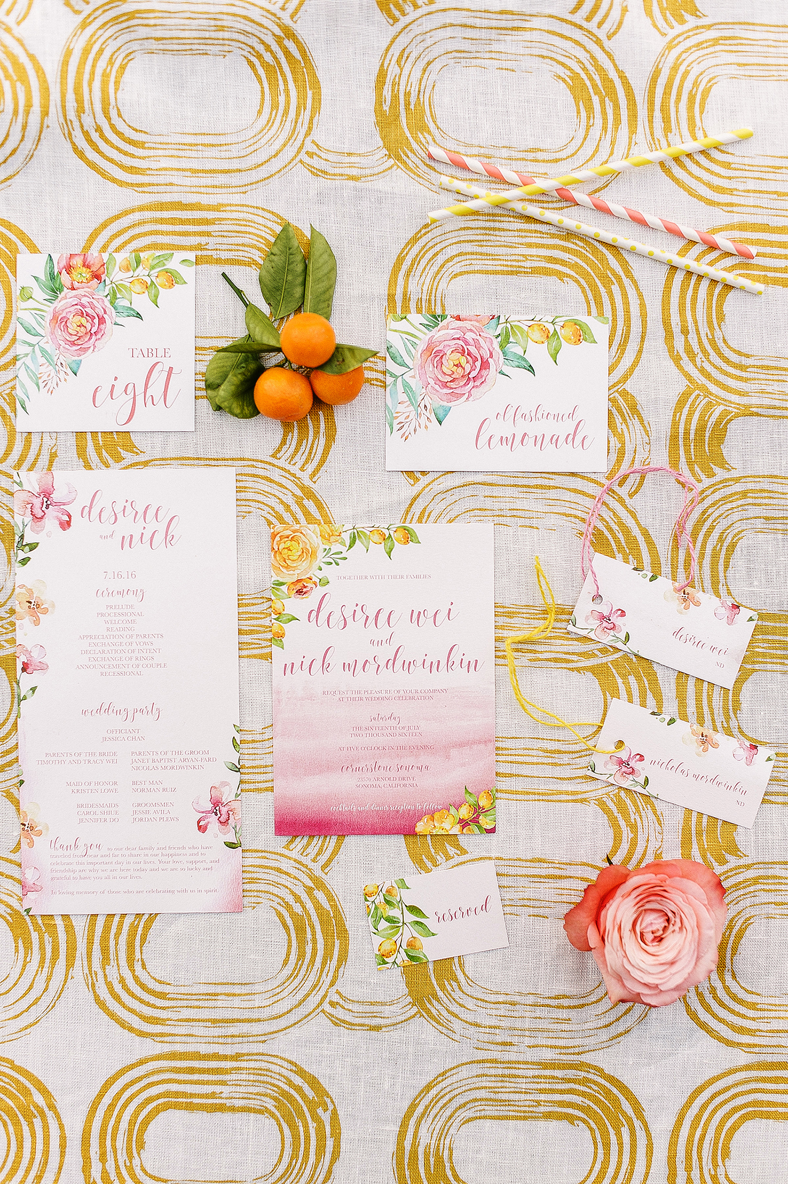 floral stationery with citrus details