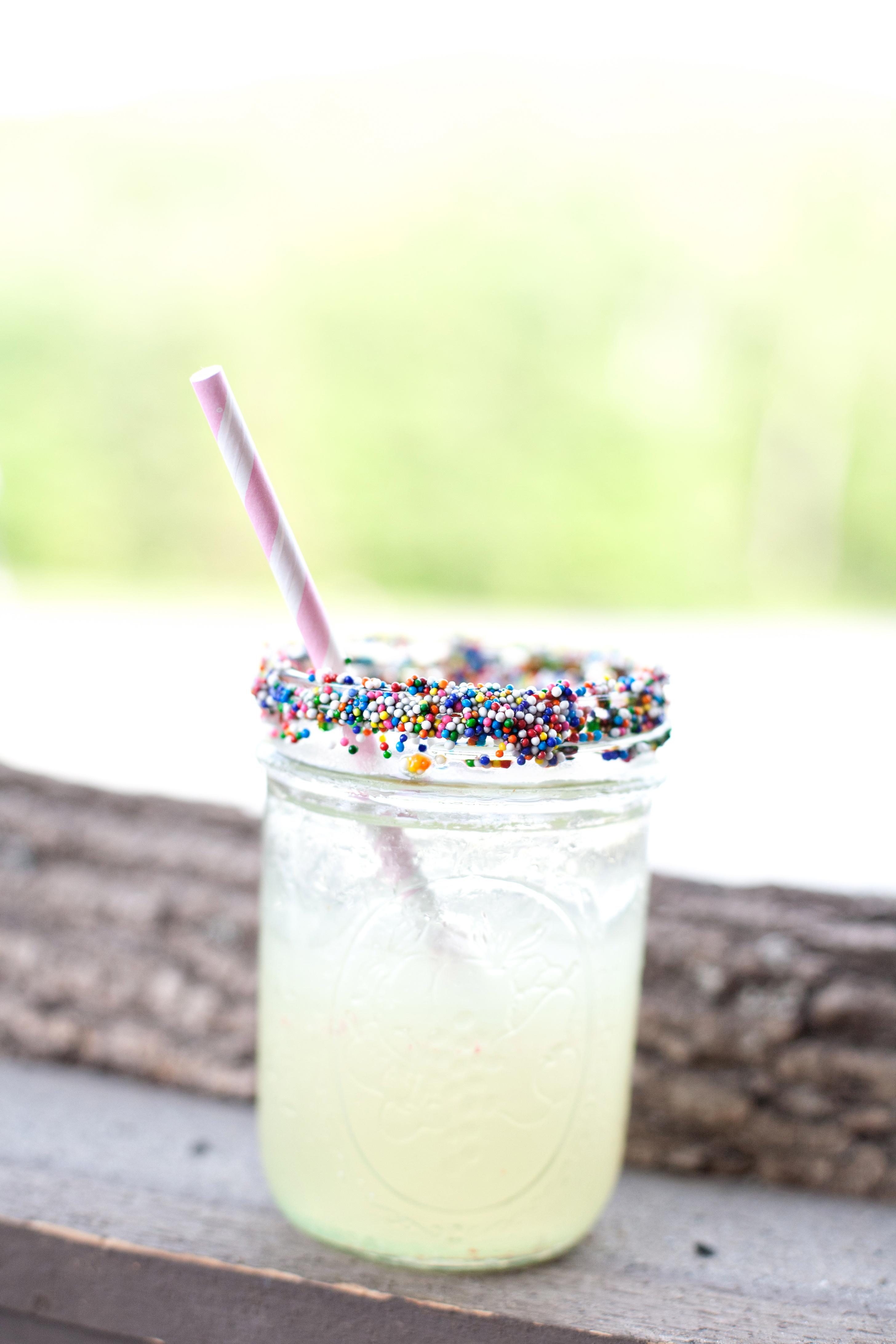 drink with sprinkles on rim