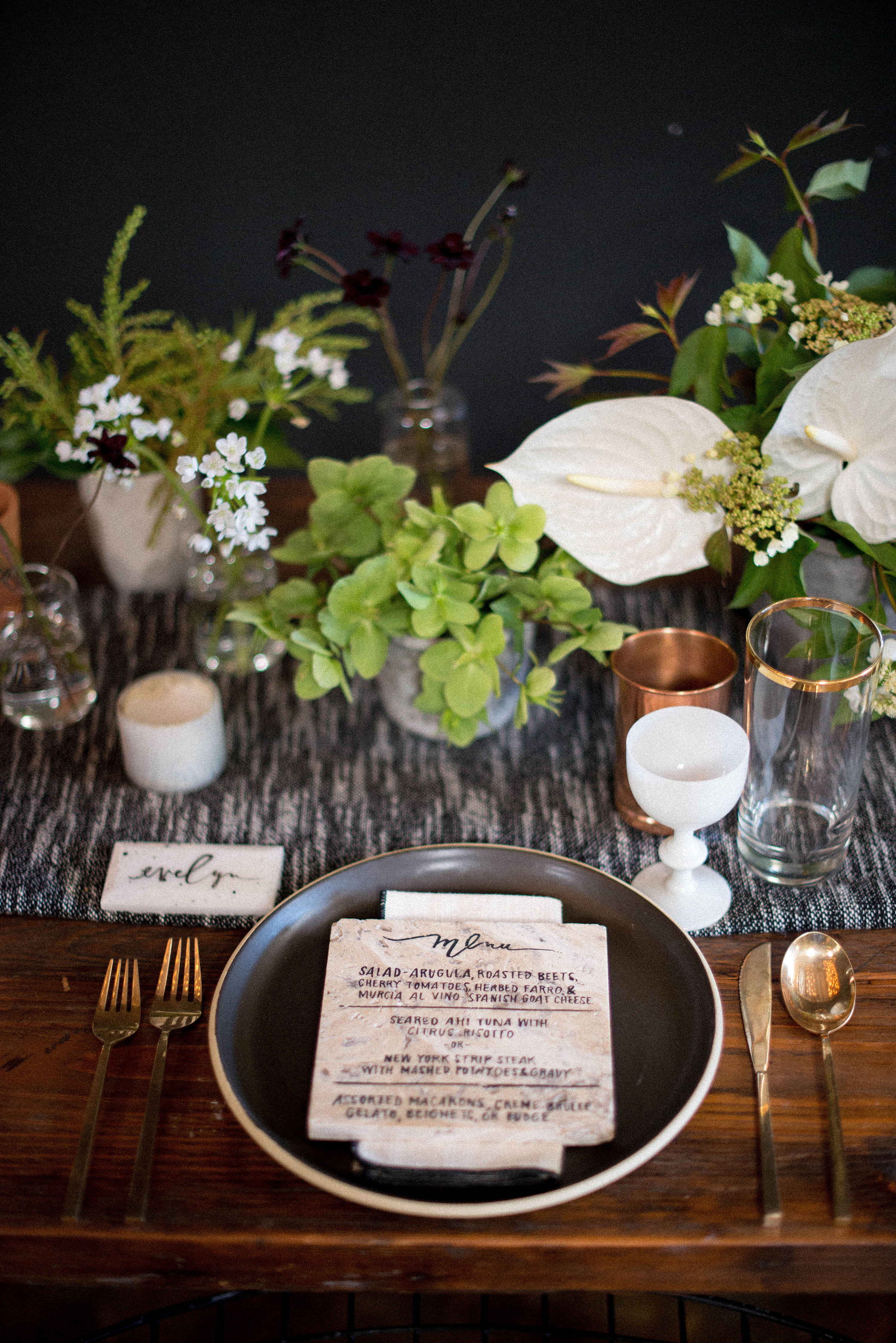 Cluster Centerpieces with Greenery