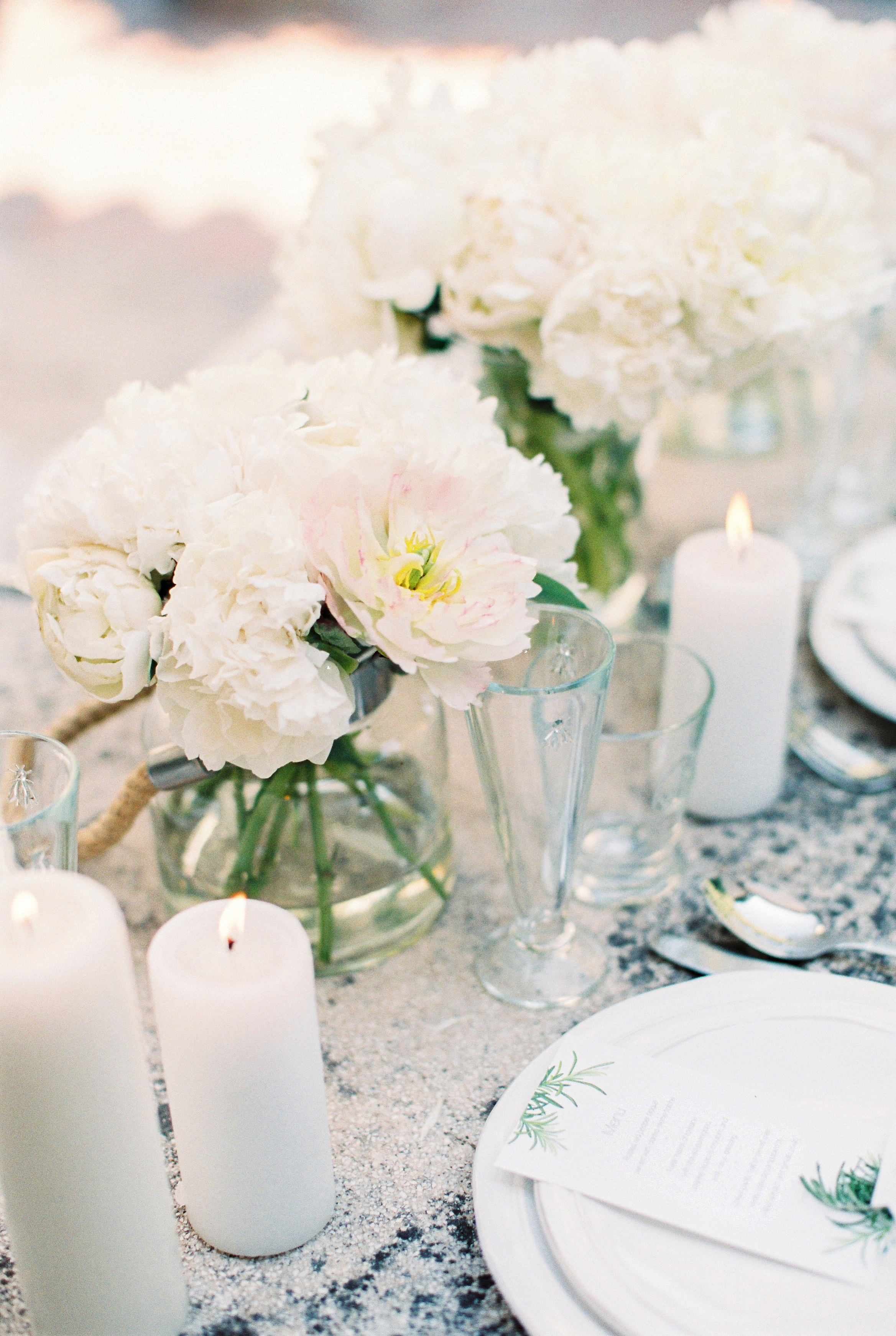 White Cluster Centerpieces with Peonies