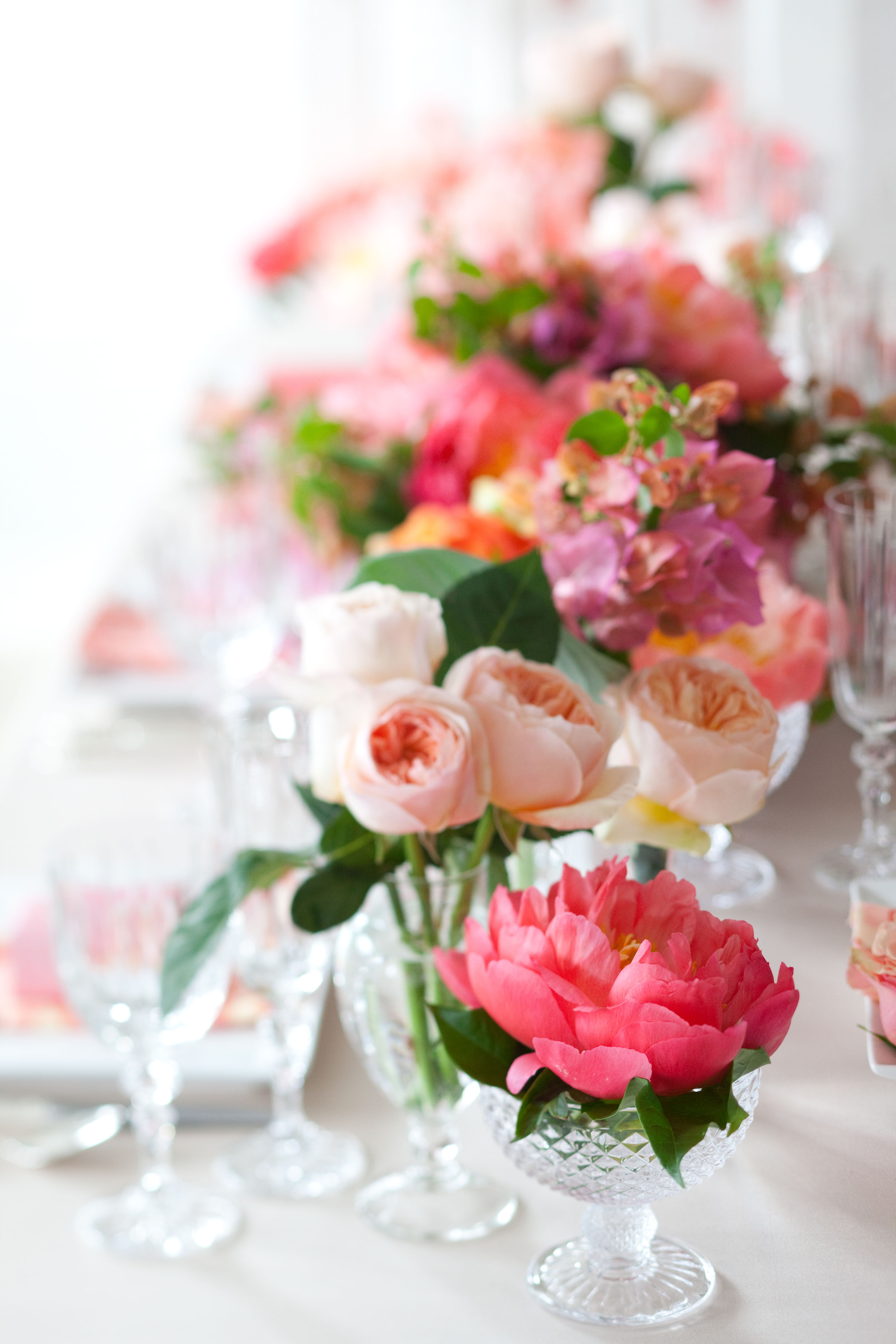 Cluster Centerpieces with Mixed Pink Flowers