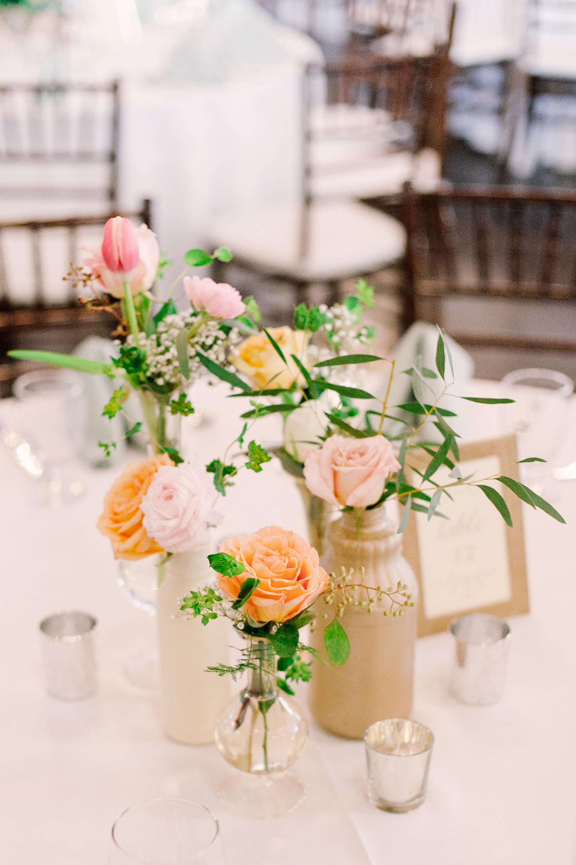 Pastel Cluster Centerpieces in Mismatched Vases