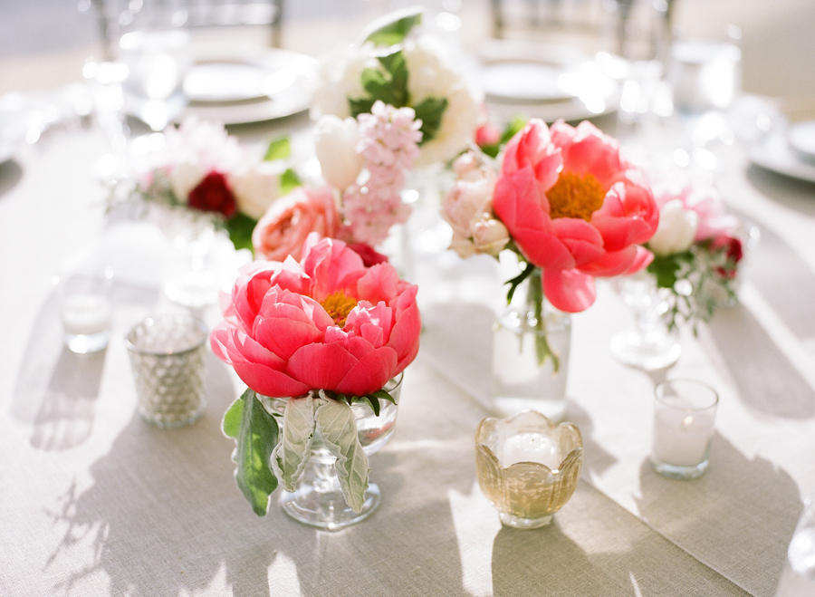 Pink Peony Cluster Centerpieces
