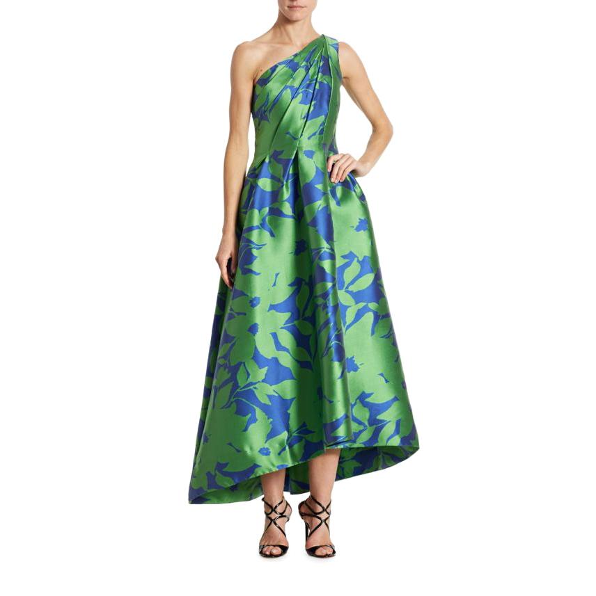 monique lhuillier one-shoulder hi-lo gown