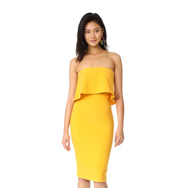 likely driggs strapless midi dress