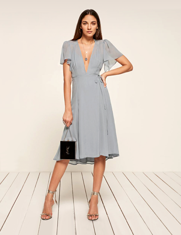 reformation frances knee-length dress